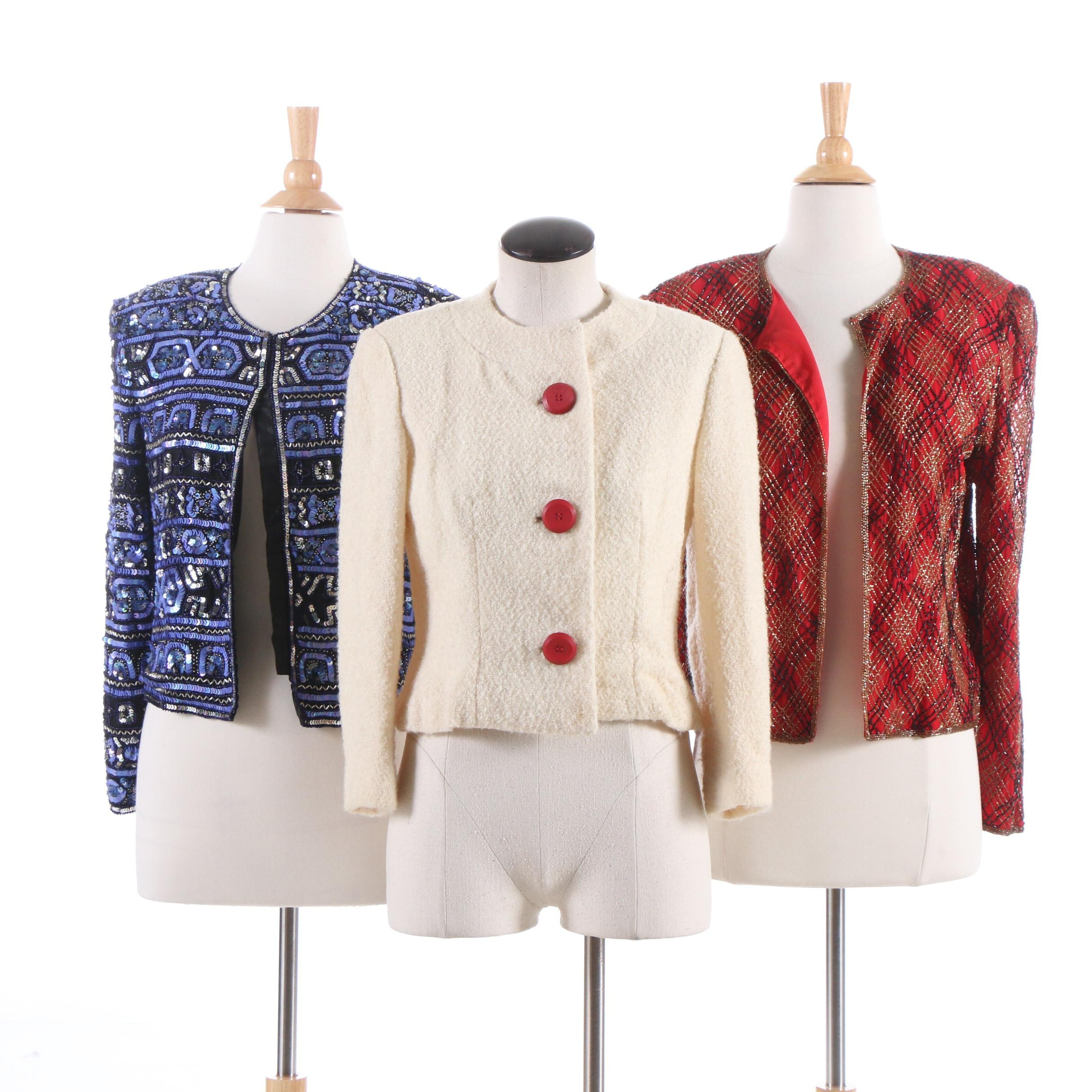 Papéll Boutique Sequin and Beaded Silk Jackets Harold Wool Jacket
