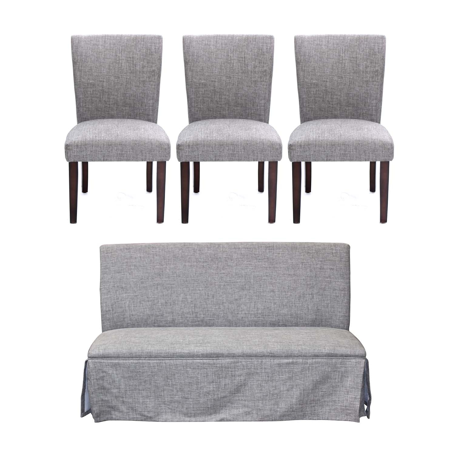 Gray Upholstered Dining Chairs and Bench, Contemporary