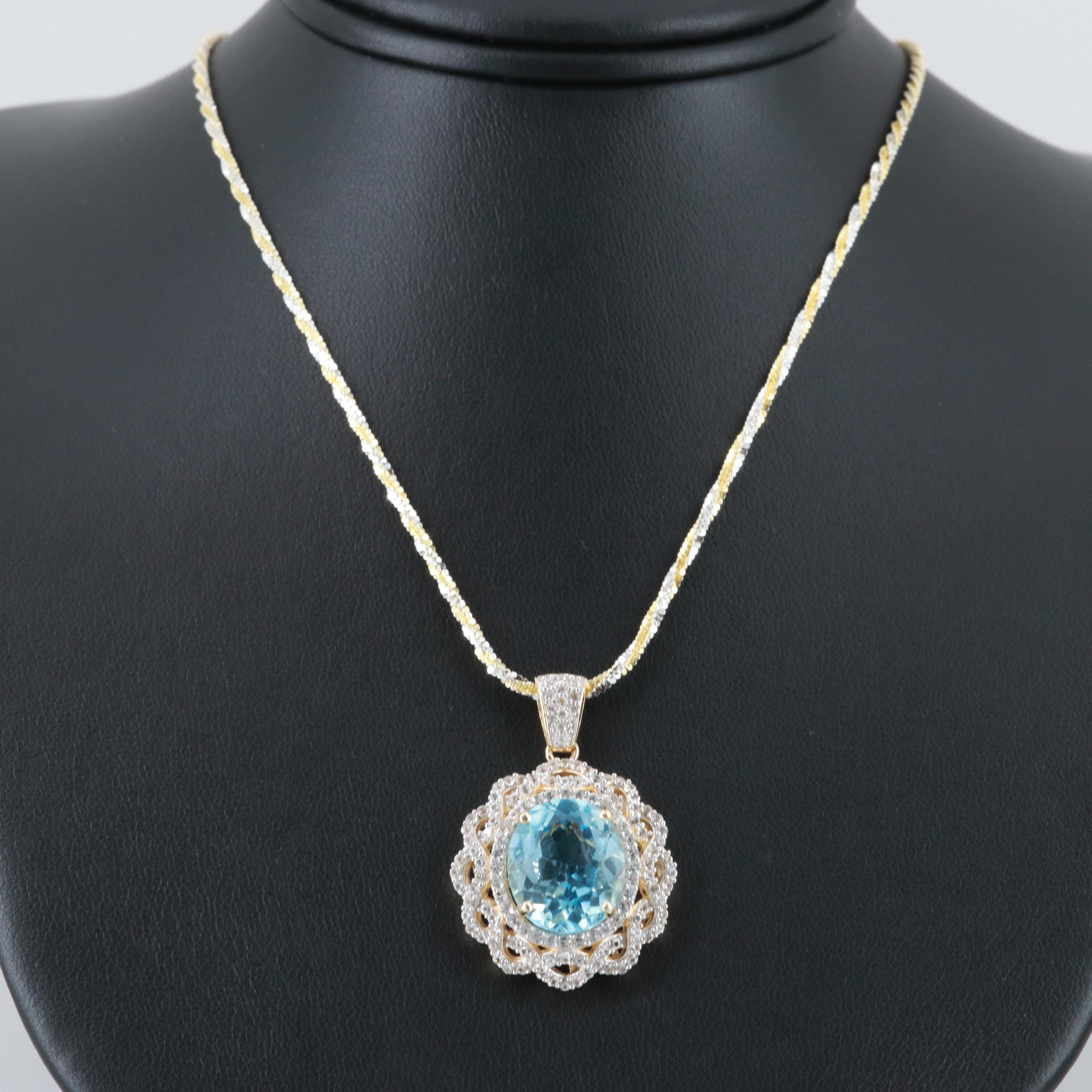 Sterling Silver Blue Topaz and White Sapphire Sparkle Chain Pendant Necklace