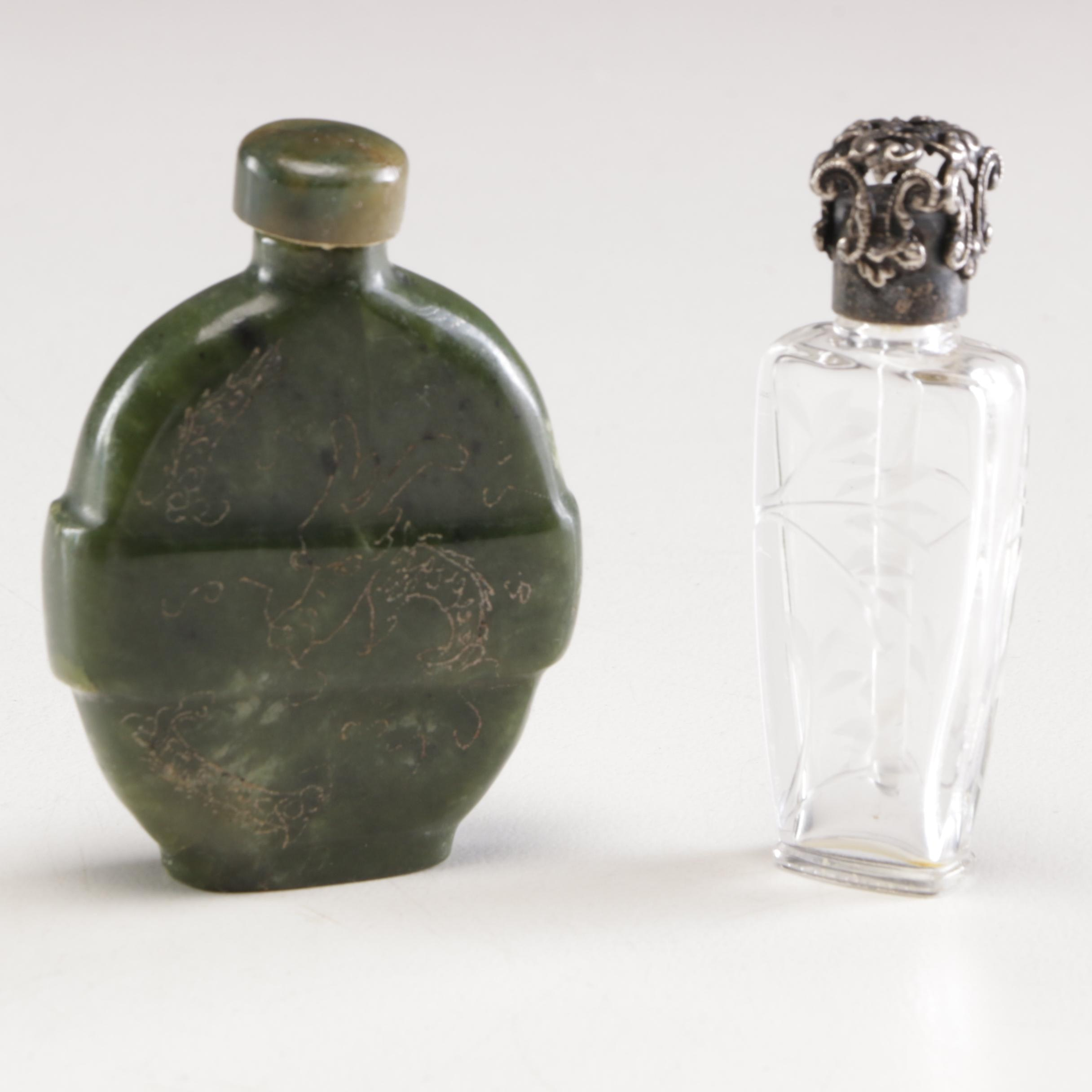 Chinese Jade Snuff Bottle and Porcelain Perfume Bottle