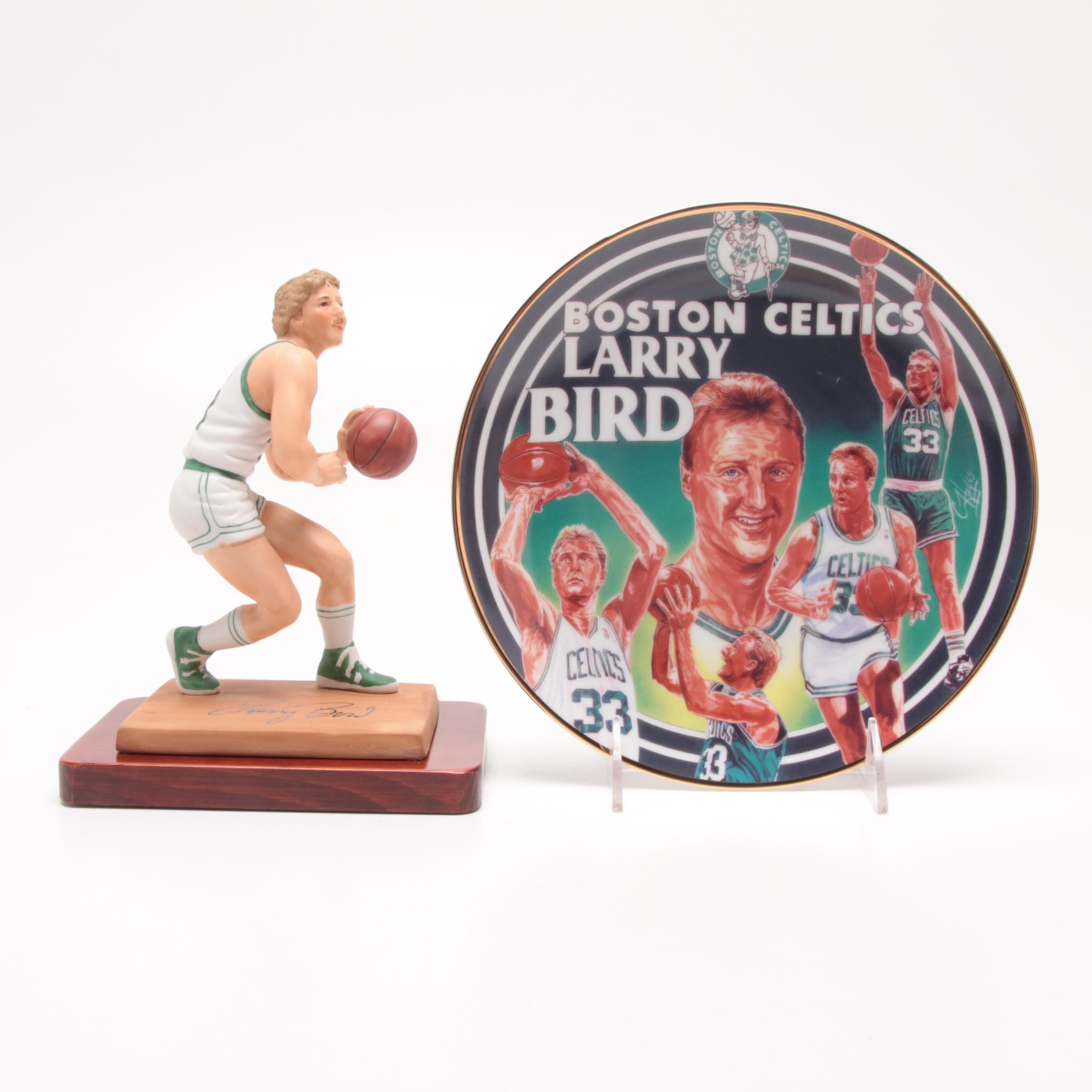 """Larry Bird Boston Celtics """"Sports Impressions"""" Figurine and Plate with Boxes"""