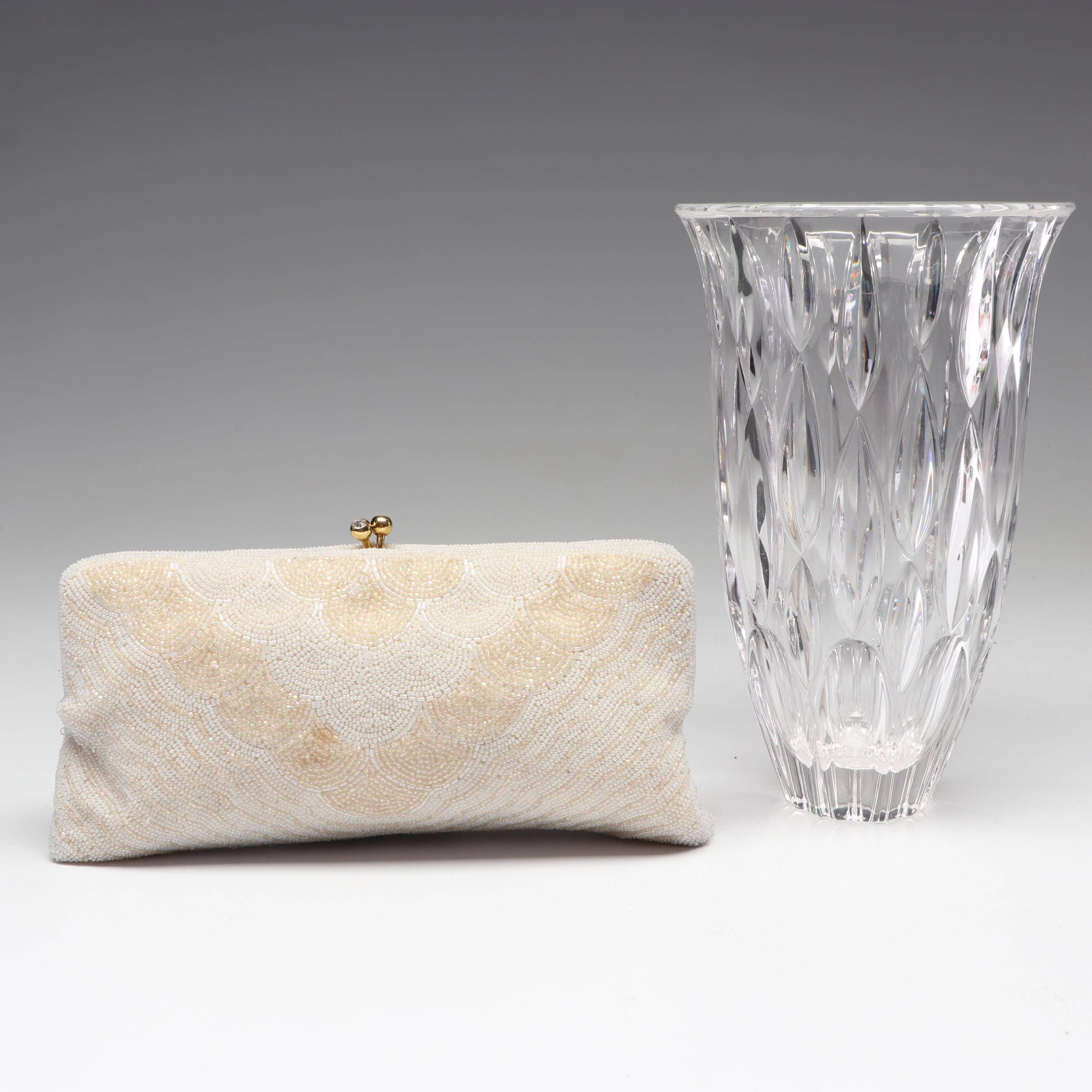 """Marquis by Waterford Crystal """"Rainfall"""" Vase with Handmade Beaded Walborg Clutch"""