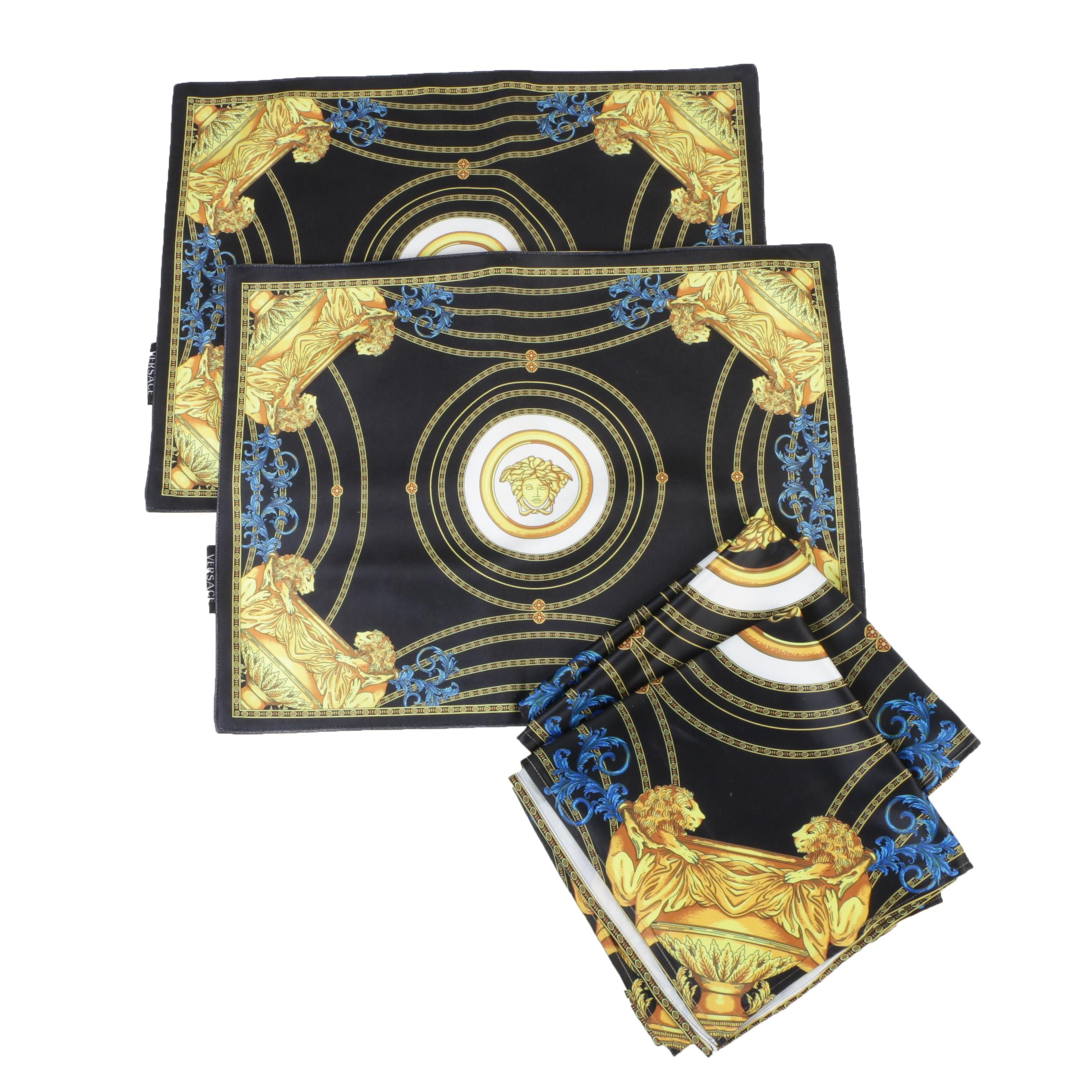 Atelier Versace Black and Gold Velvet Medusa Placemats and Napkins, Italy
