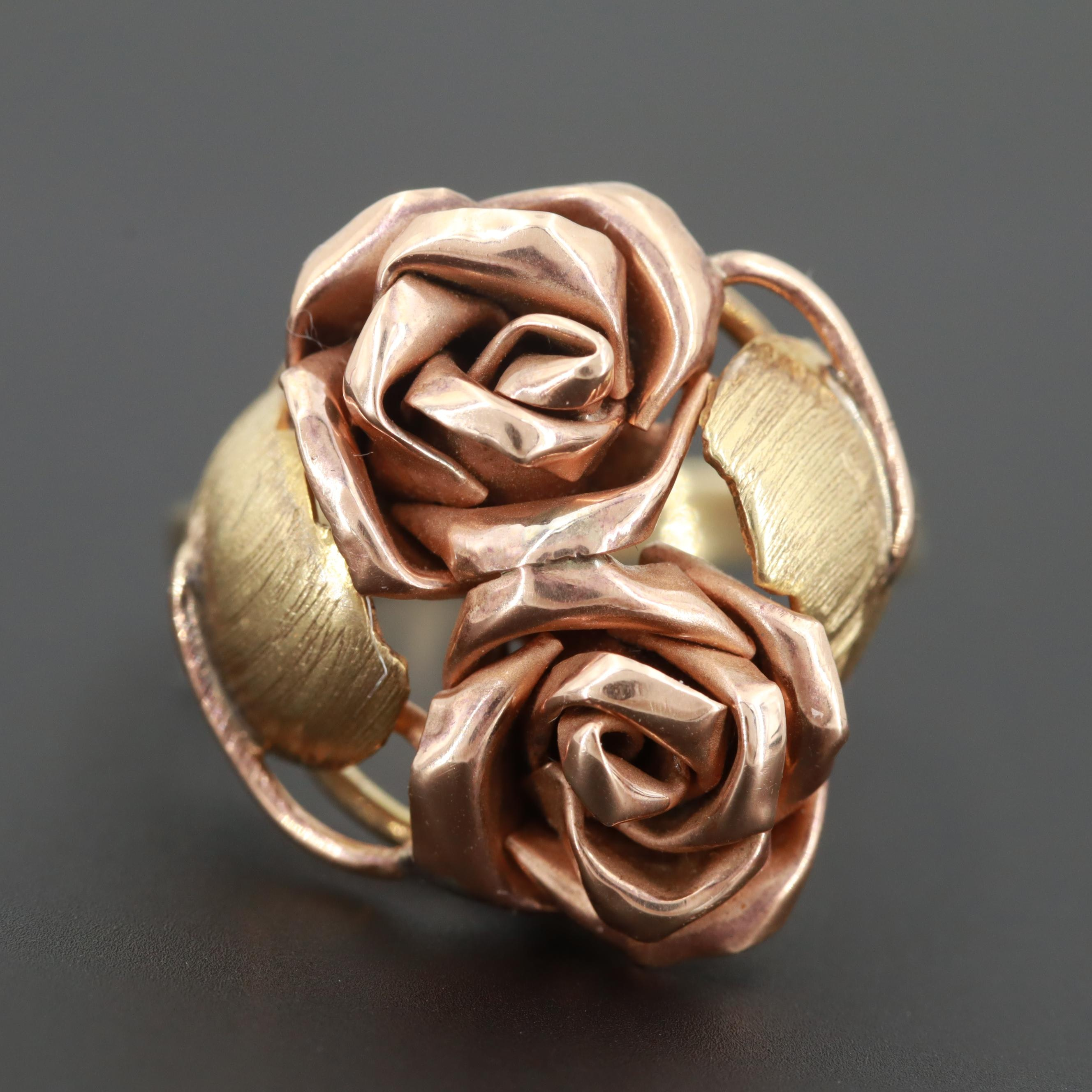 Austrian 14K Yellow Gold Ring with Rose Gold Rose Accents
