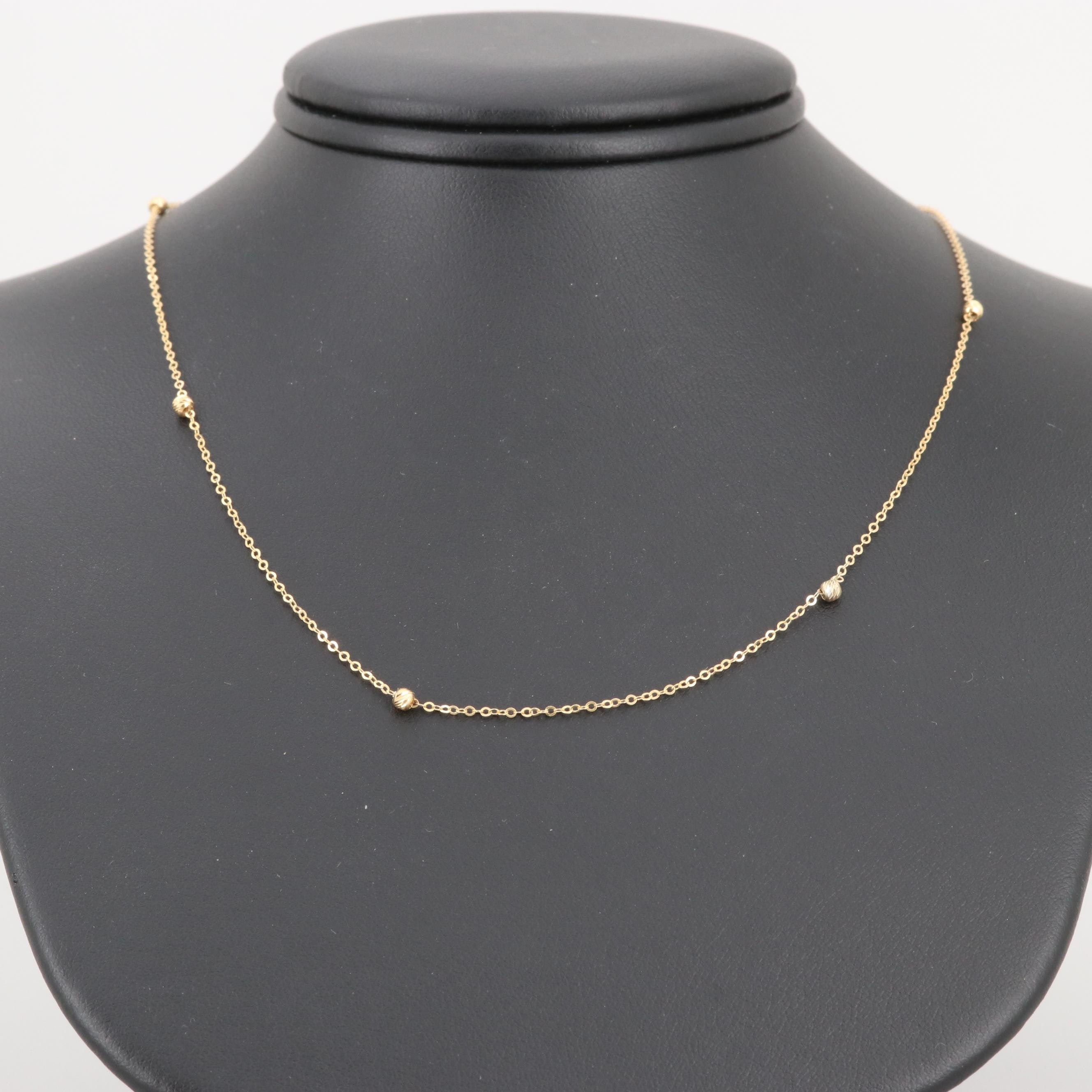 14K Yellow Gold Link and Station Necklace