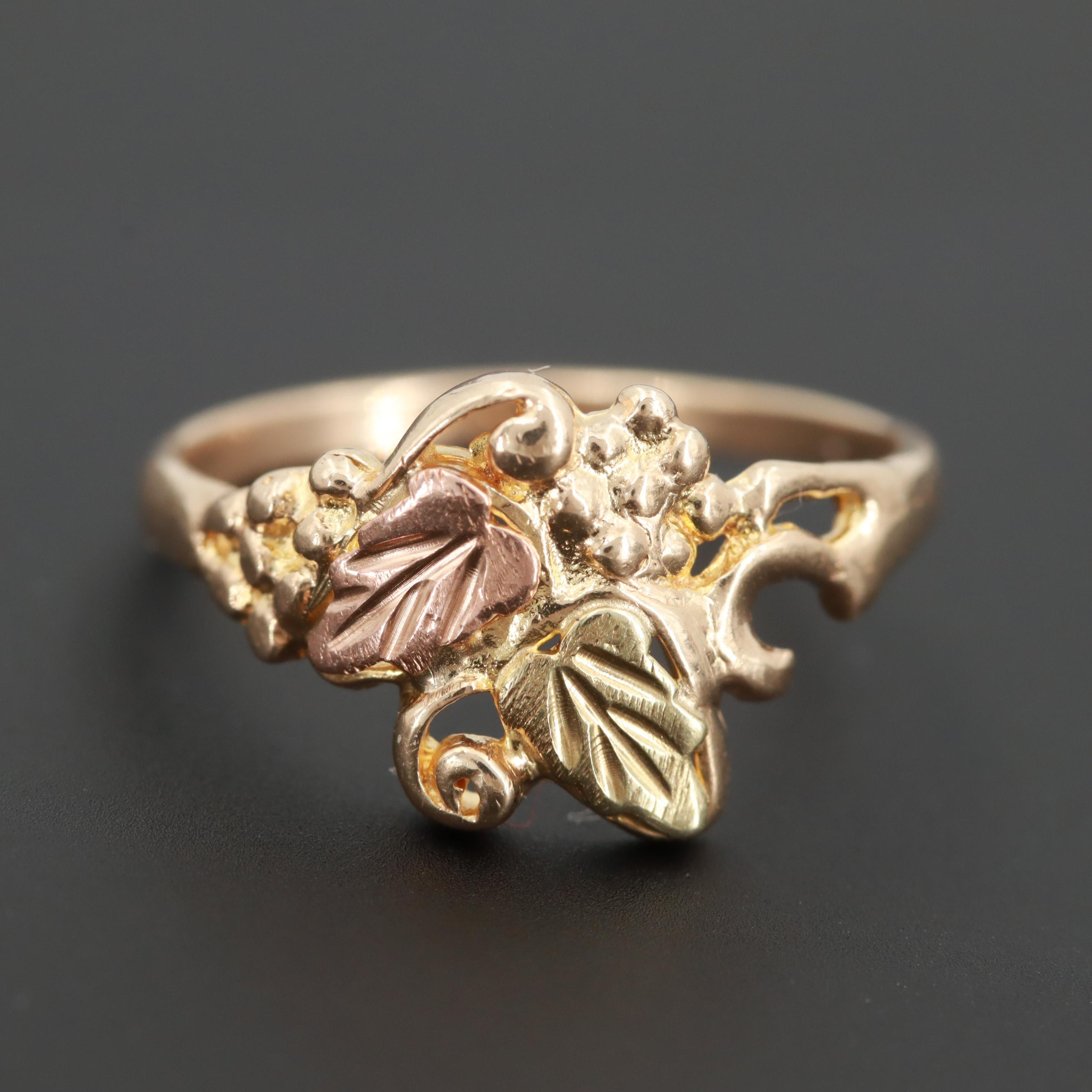 10K Yellow Gold Ring with Rose Gold Accents