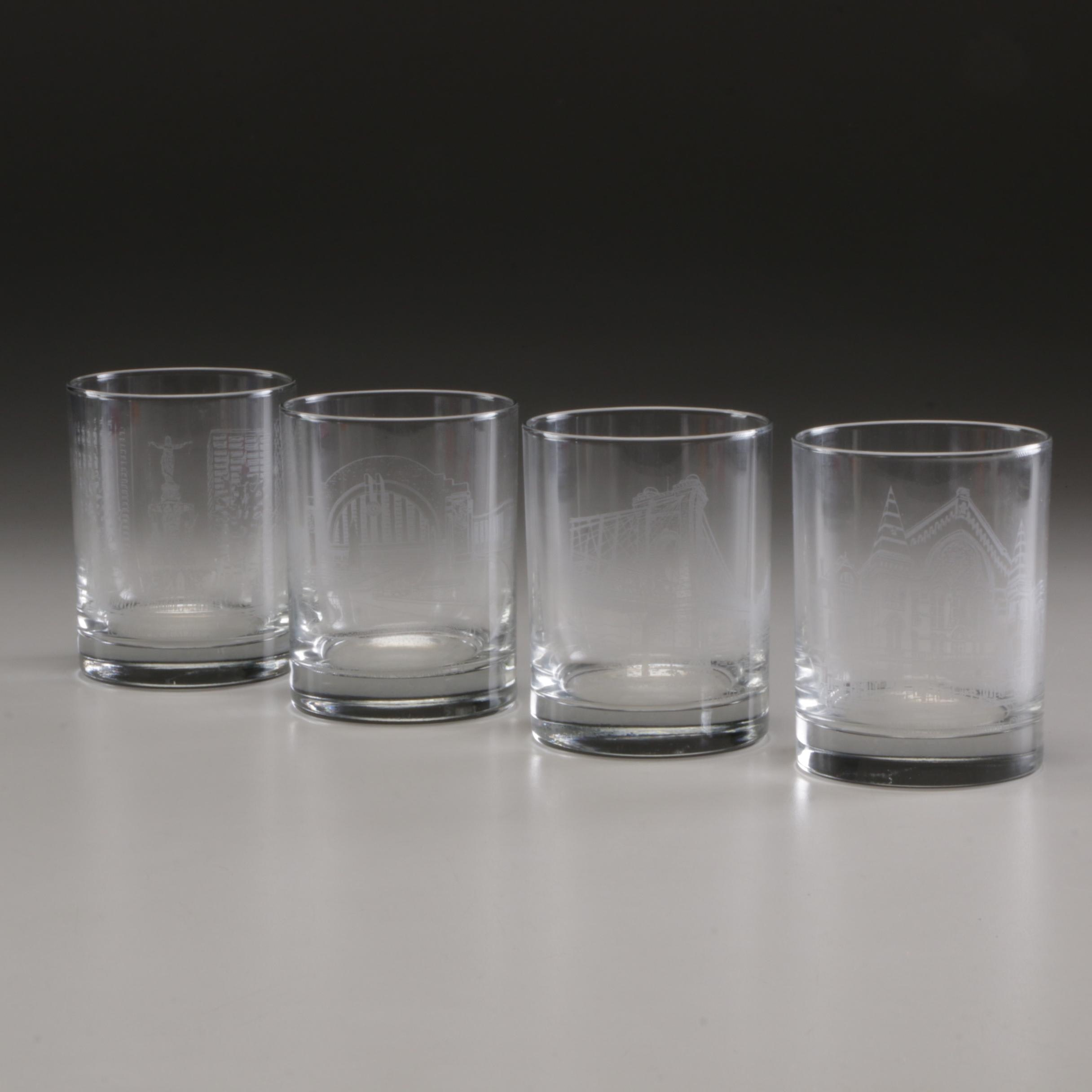 Group of Cincinnati Landmark Collectible Glasses