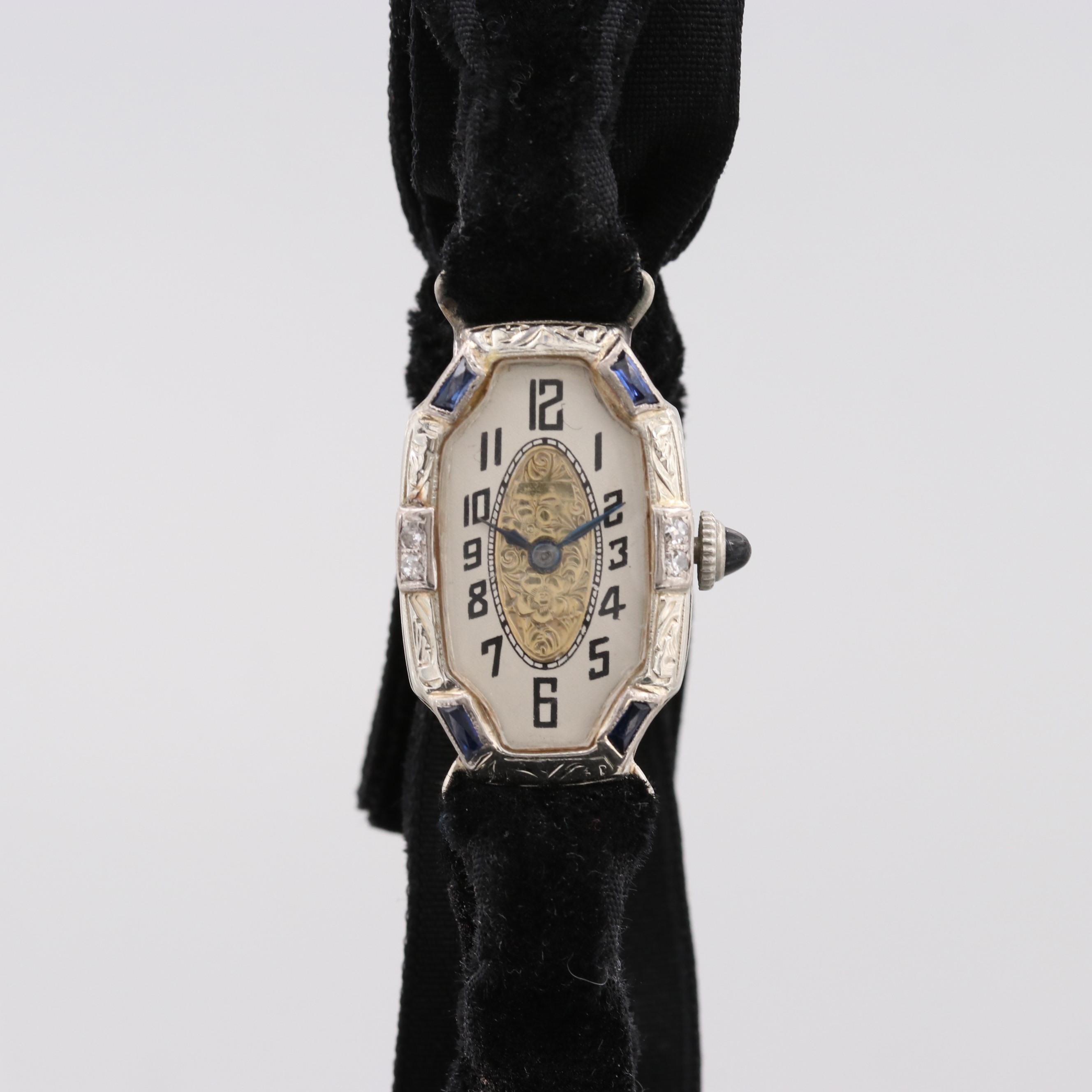 Vintage Ioco 18K White Gold Wristwatch With Diamonds and Synthetic Sapphires