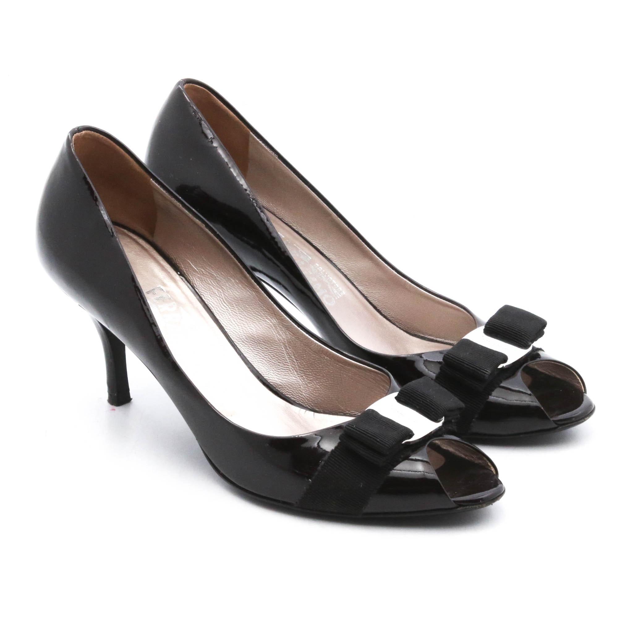 Salvatore Ferragamo Patent Leather Peep-Toe Stilettos, Made in Florence, Italy