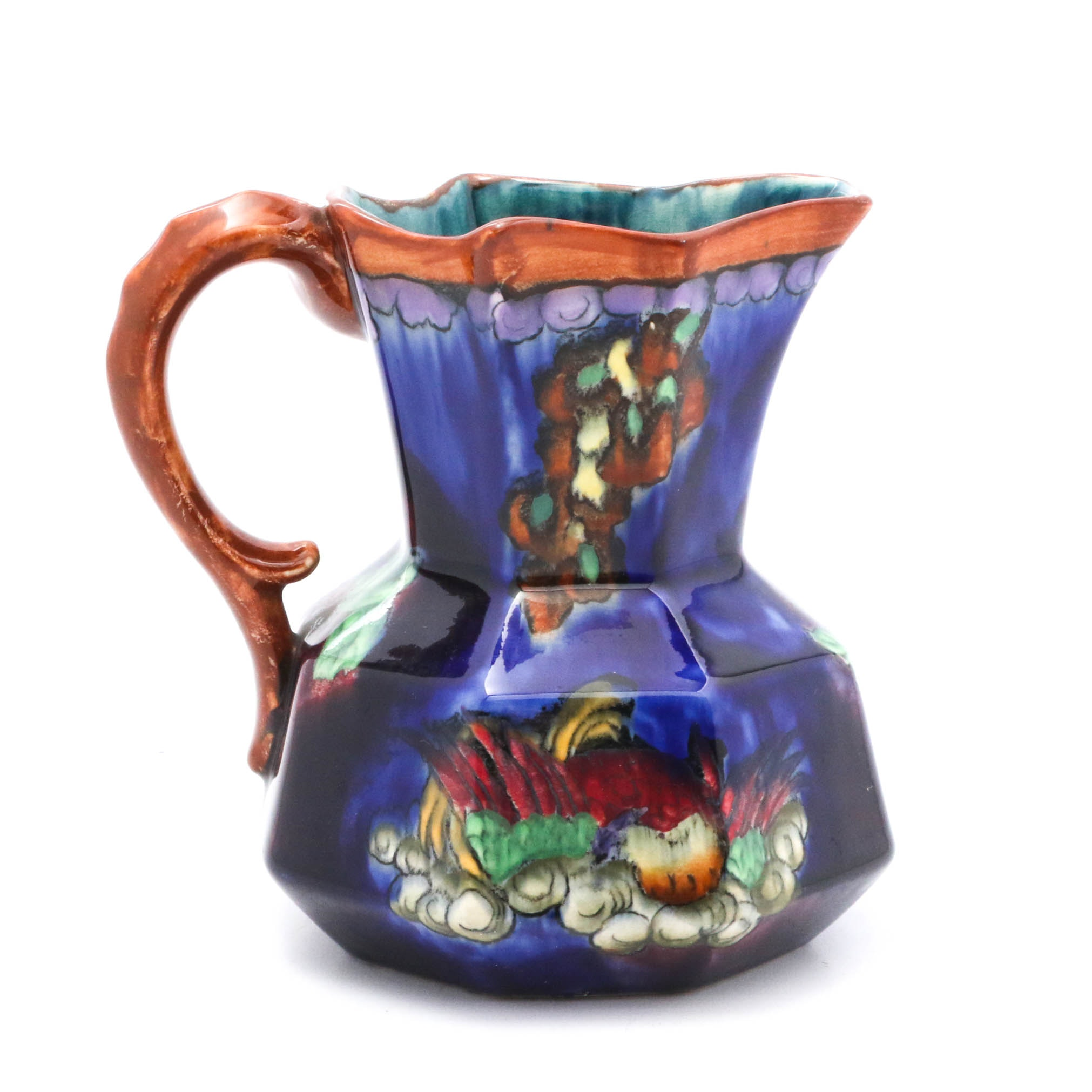 """Antique Signed Hancock & Sons """"Coronaware"""" Hand-Painted Ceramic Pitcher"""
