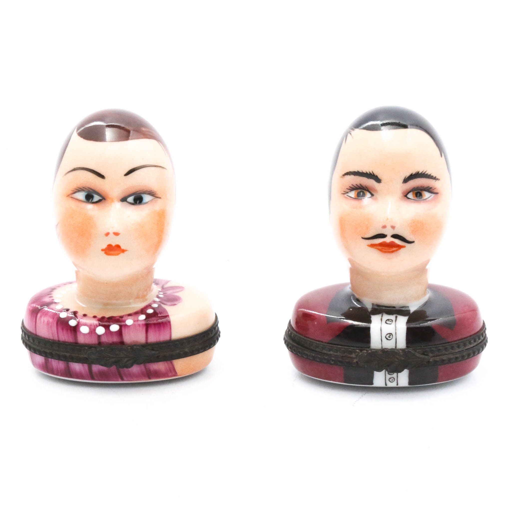 Handpainted Limoges Man and Woman Porcelain Trinket Boxes, Early 20th Century