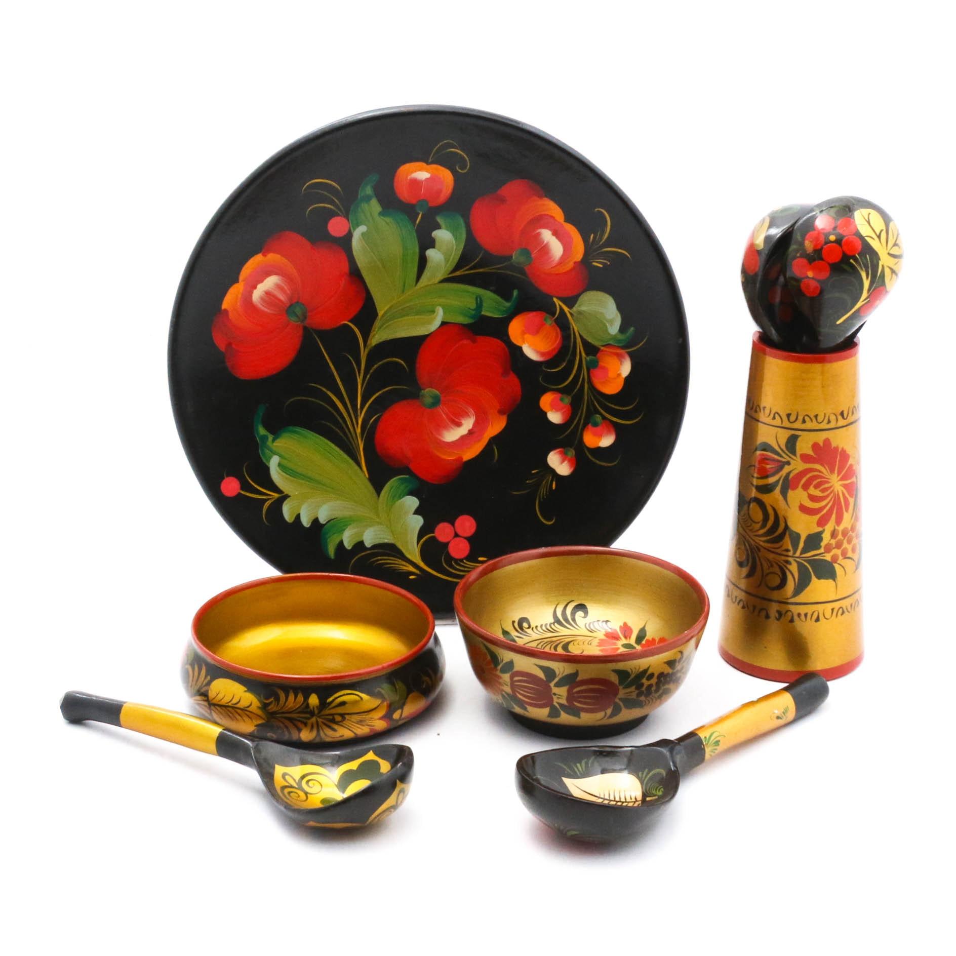 Vintage Russian Lacquerware Decorative Tableware
