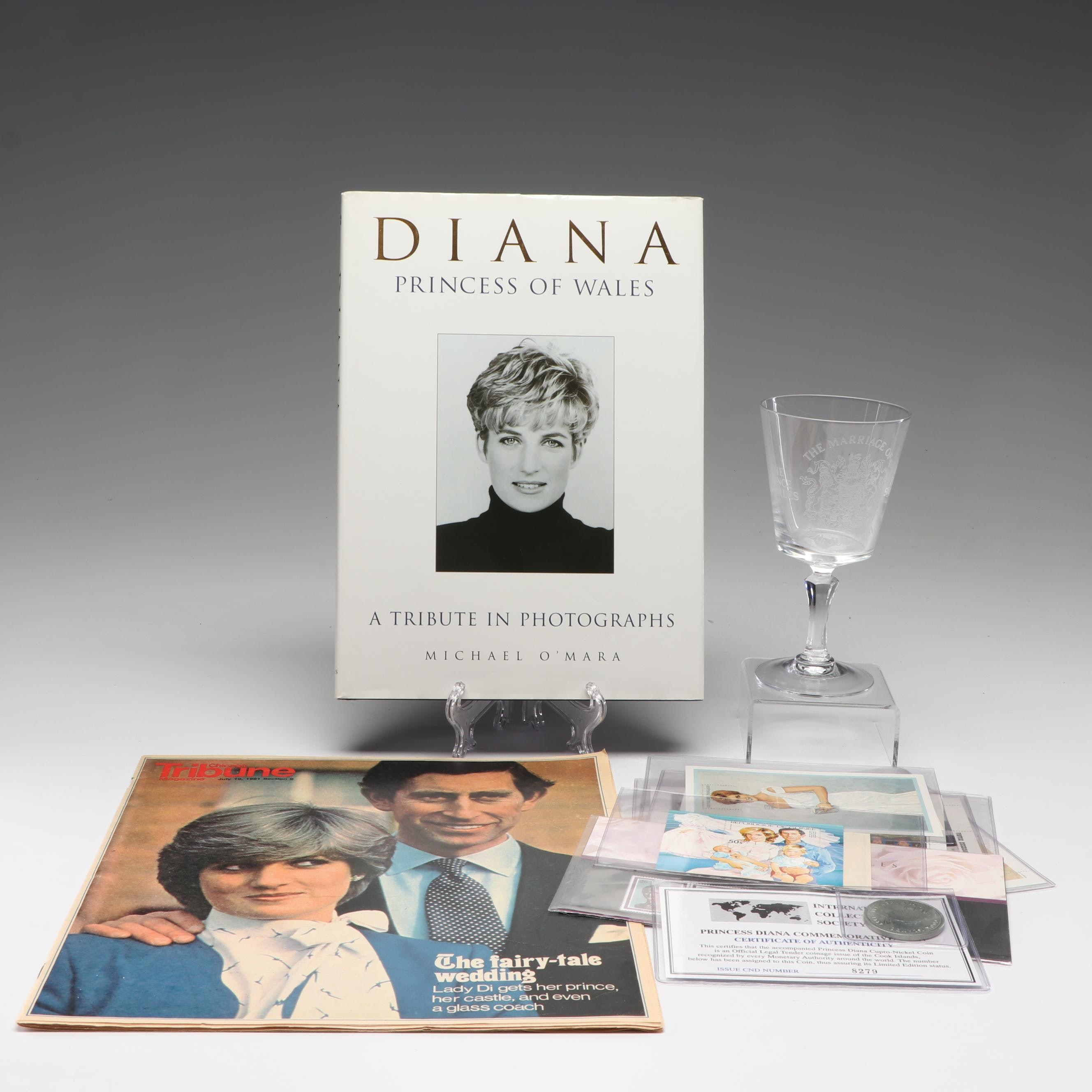 Princess Diana Memorabilia with International Stamps, Commemorative Coin & More