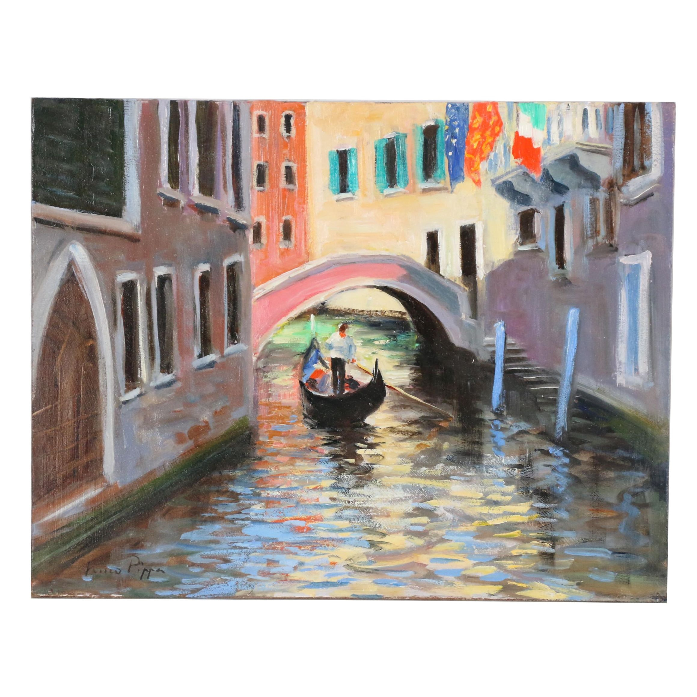 """Nino Pippa Oil Painting """"Venice - Side Canal"""""""