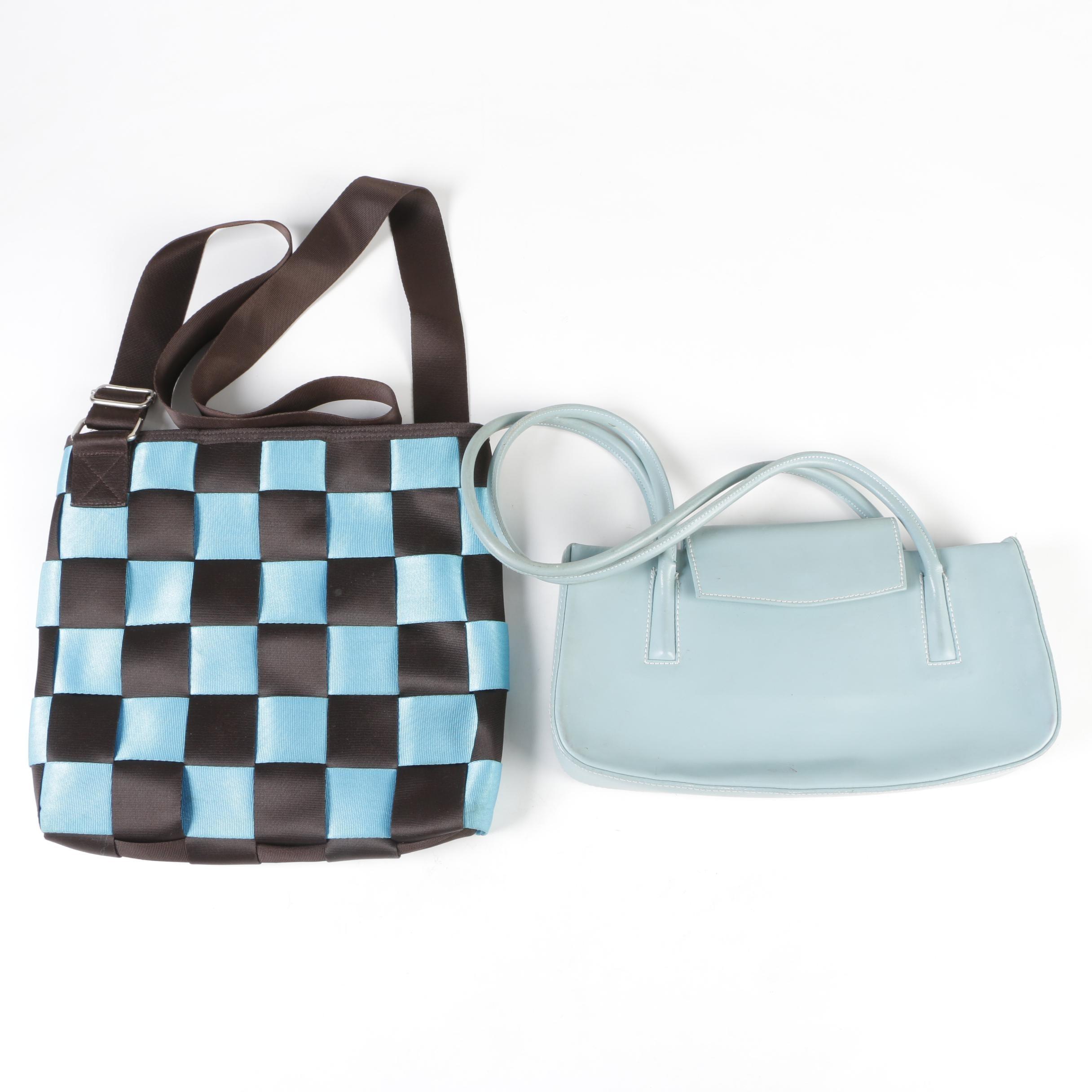 Seat Belt Style Nylon Crossbody Bag with Leather Shoulder Bag