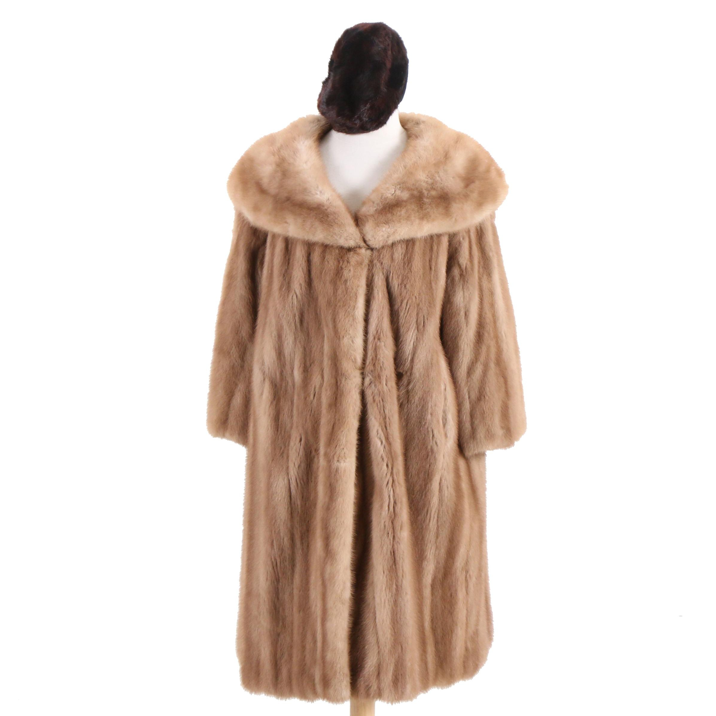 A.E. Burkhardt Co. Mink Fur Coat and Shillito's Mink Fur Hat, Vintage