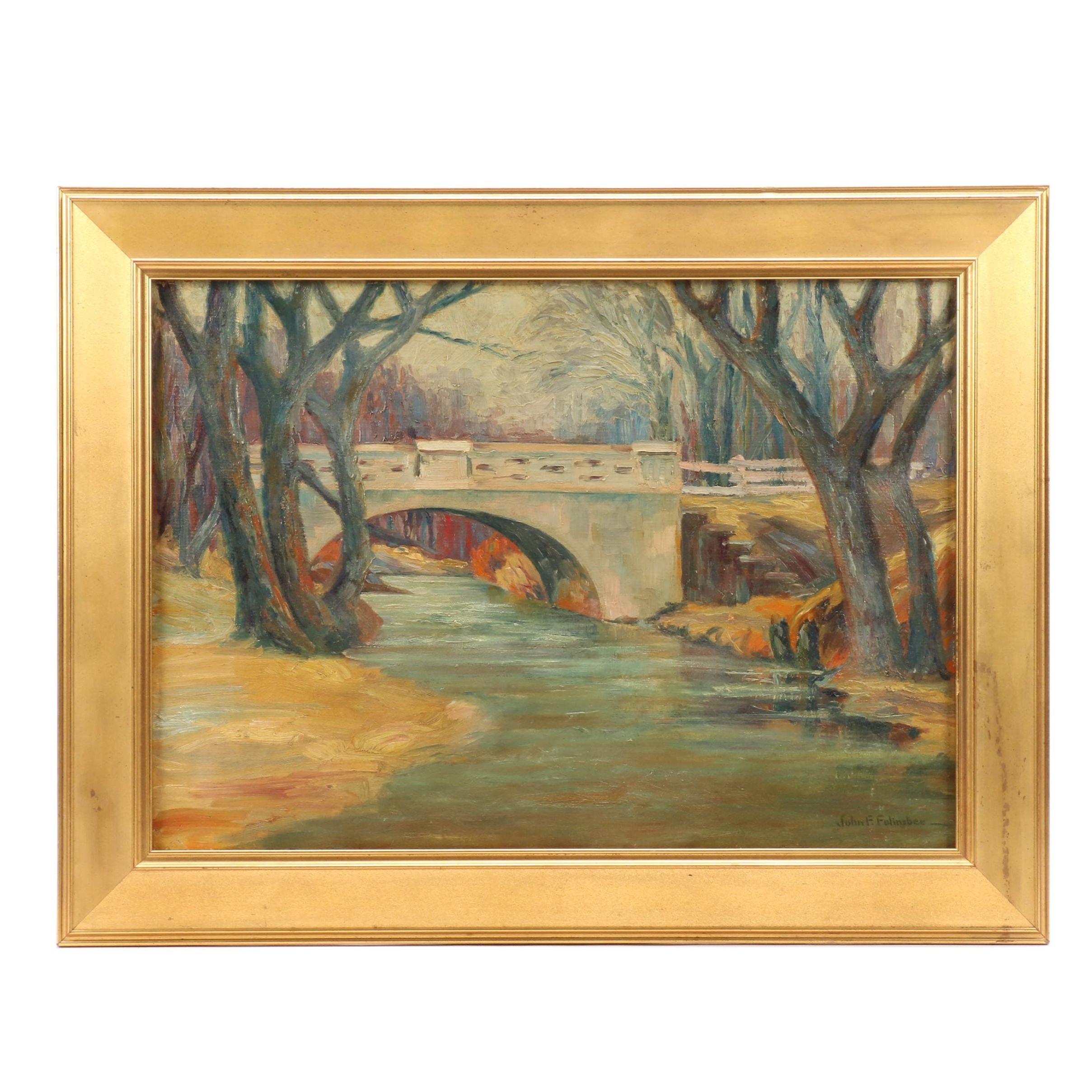John Folinsbee Oil Painting of River Scene with Bridge