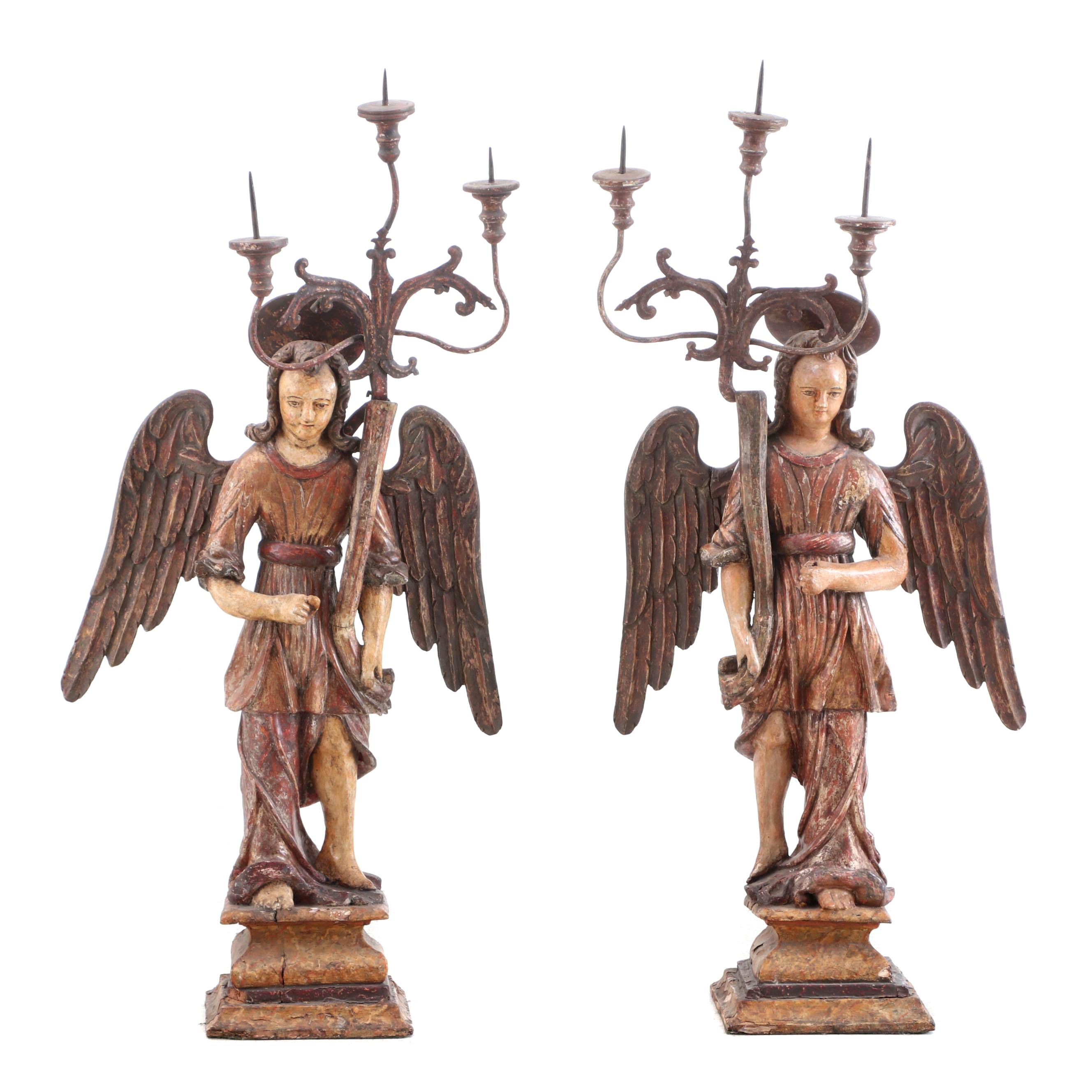 Carved and Polychrome Italian Angel Candelabras, 19th Century