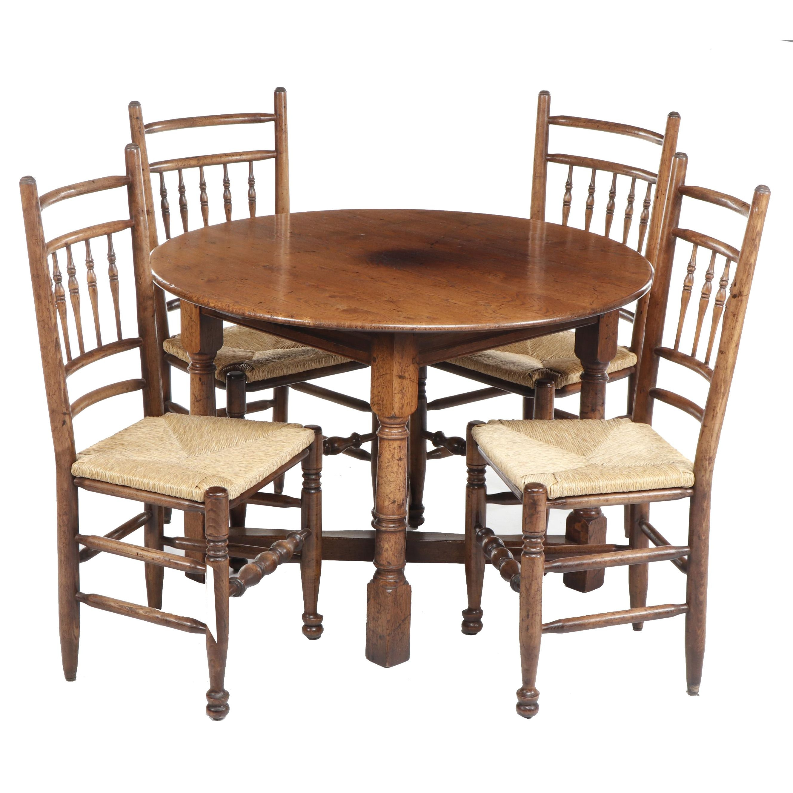 Round Pine Kitchen Table With Four Chairs