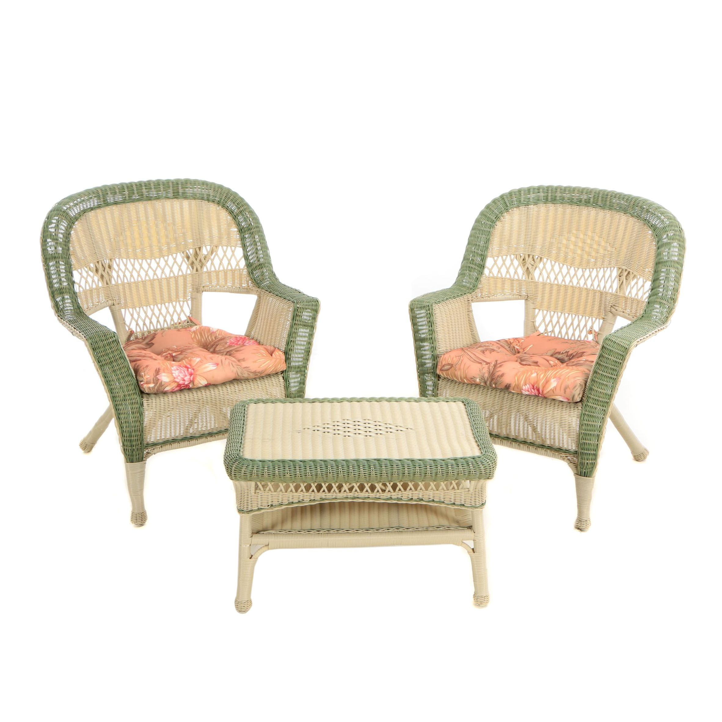 Plastic Wicker Armchair Pair and Coffee Table