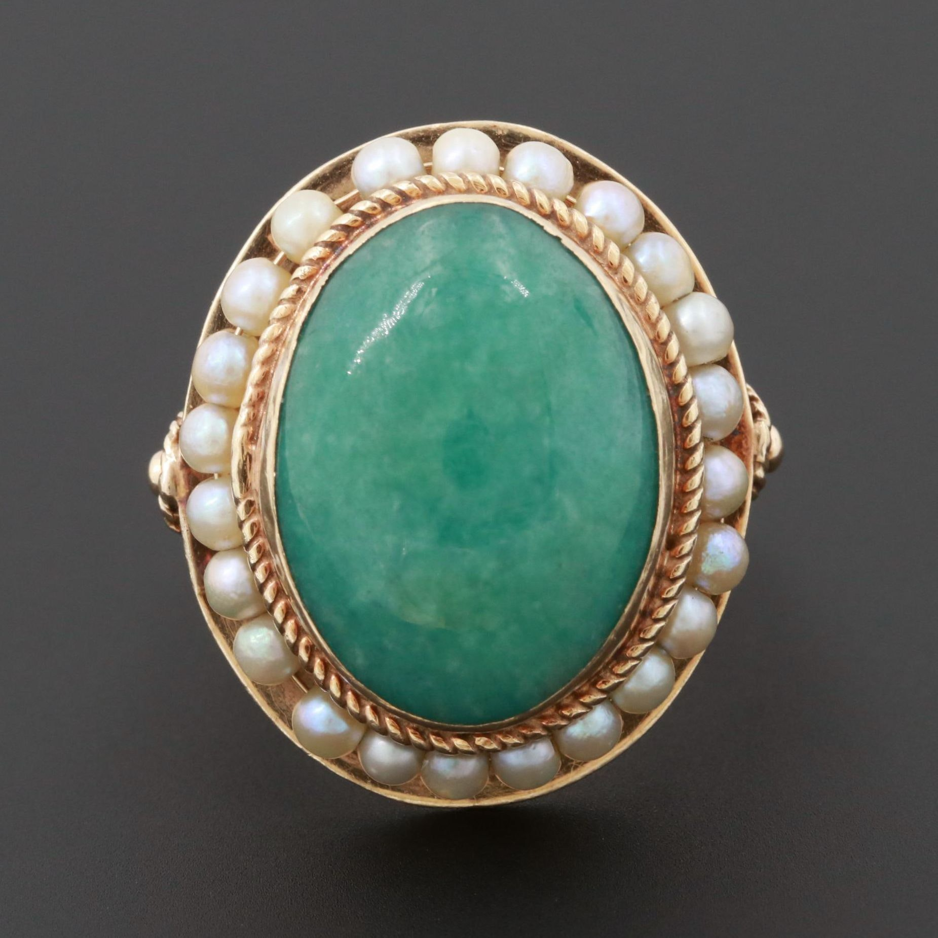 Early 1900s 14K Yellow Gold Jadeite and Cultured Pearl Ring