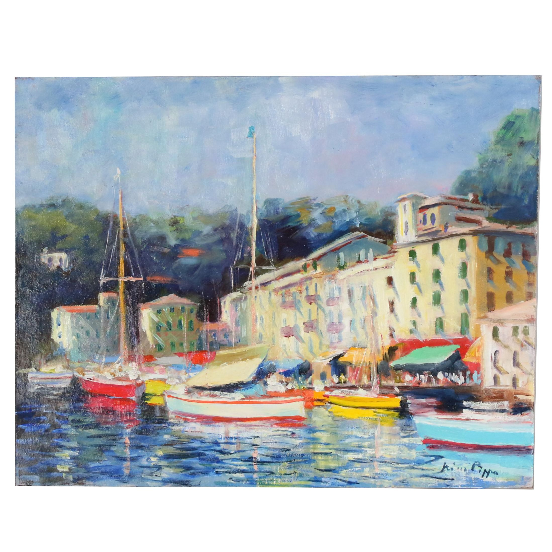 "Nino Pippa Oil Painting ""Portofino - Mid-Summer"""
