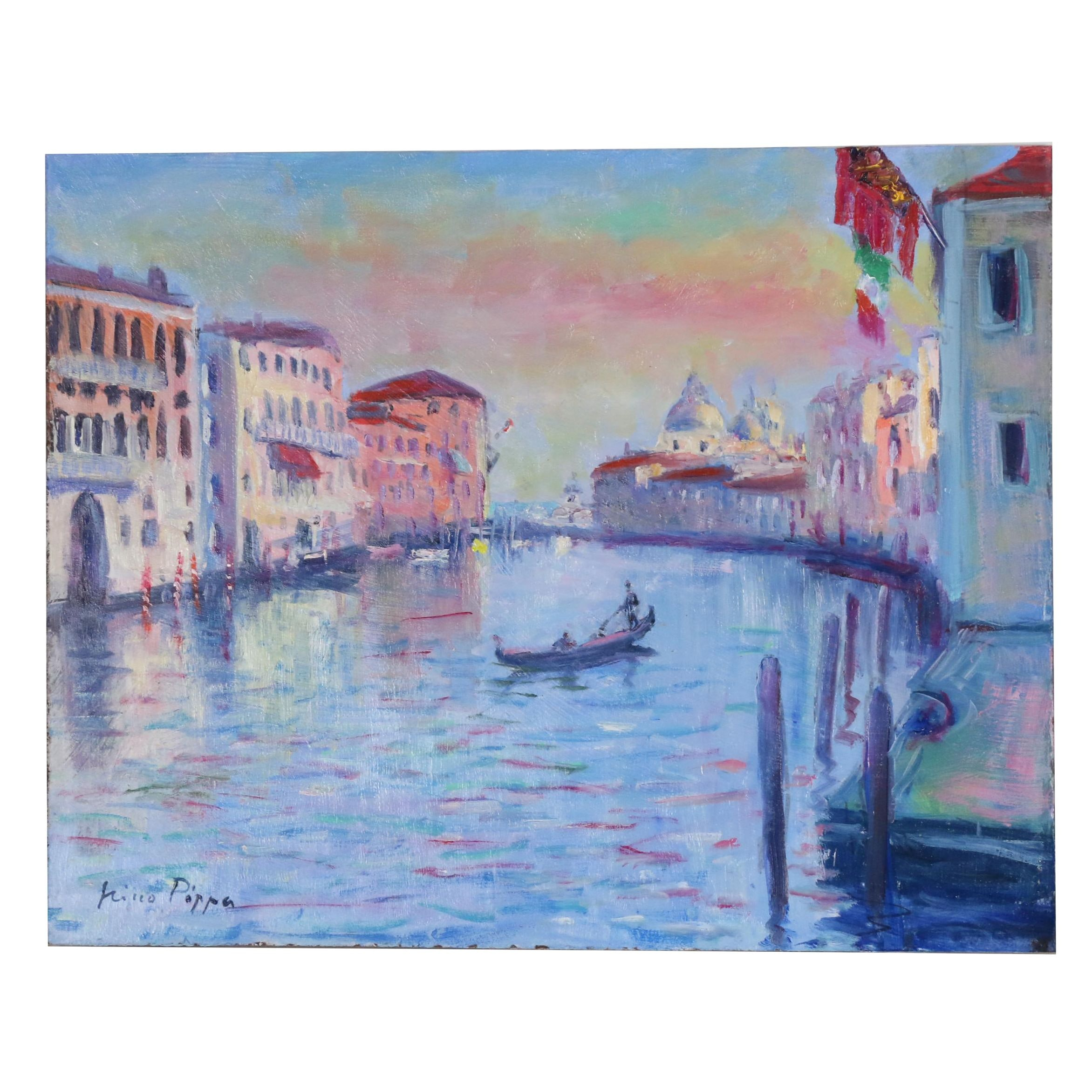 "Nino Pippa Oil Painting ""Venice - Twilight on the Grand Canal"""