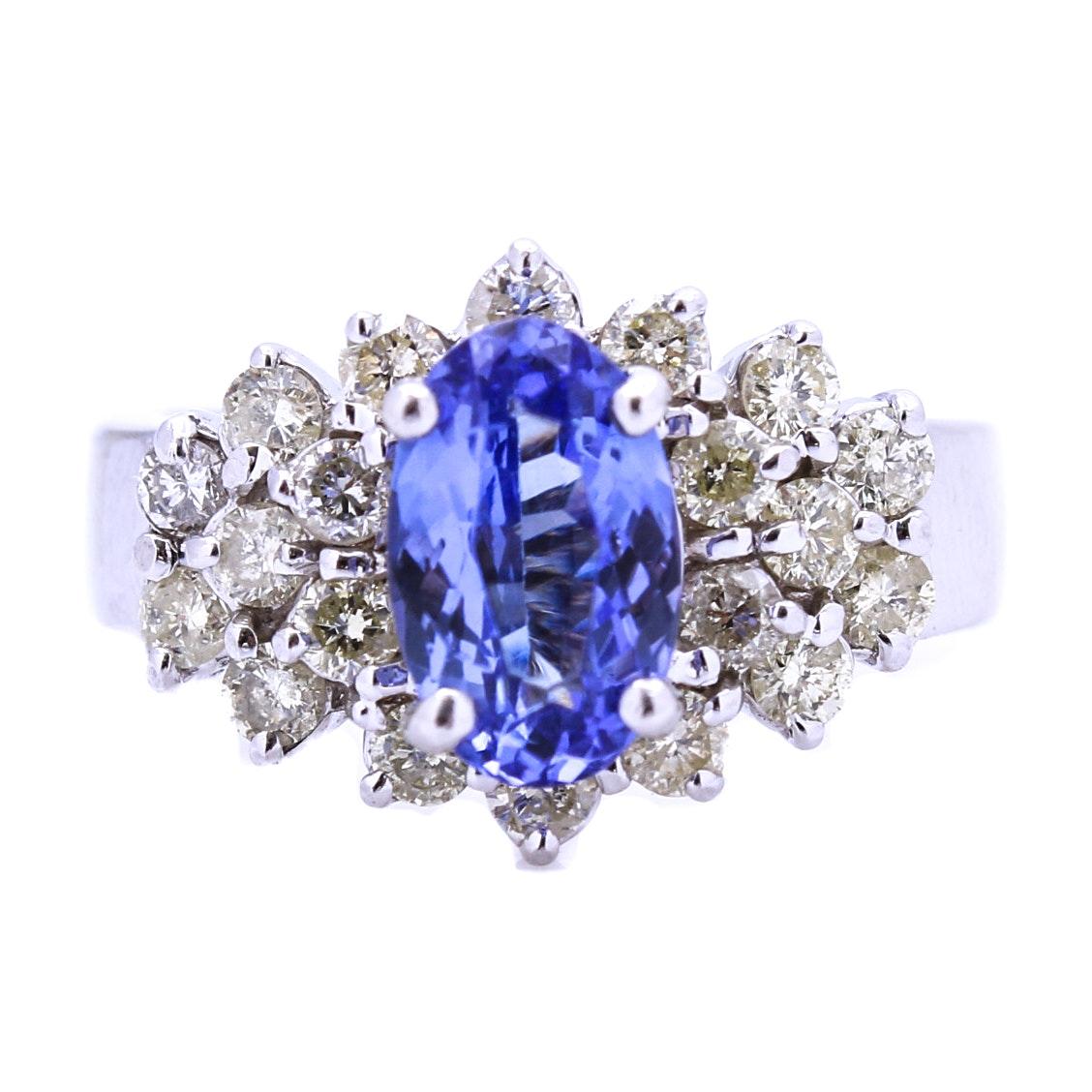 14K White Gold Tanzanite and Diamond Cocktail Ring