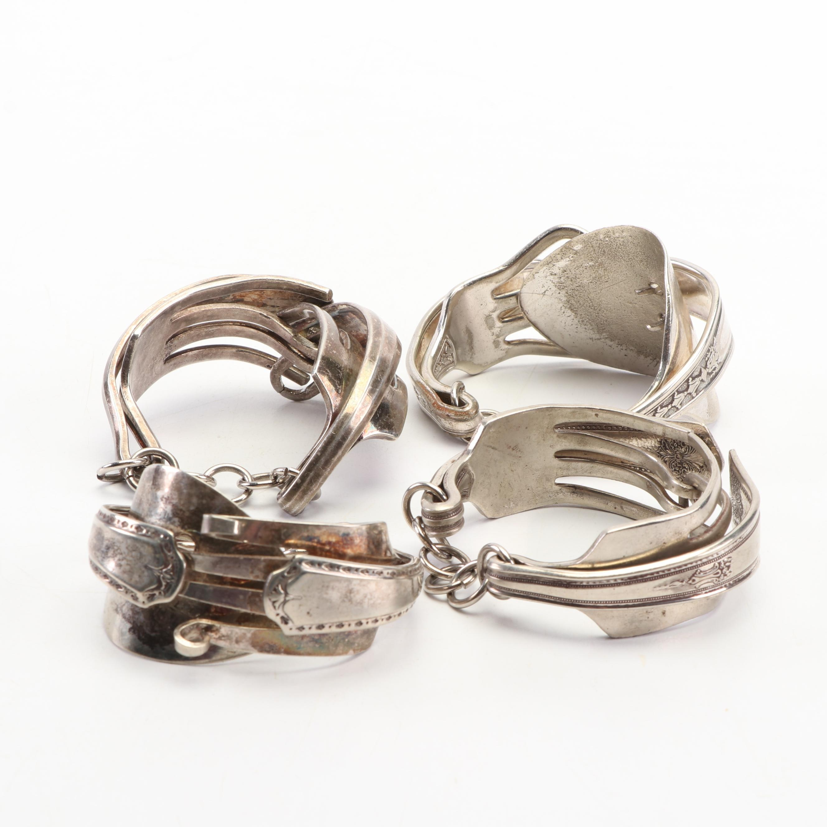 Fork and Spoon Silver Plate Bracelets
