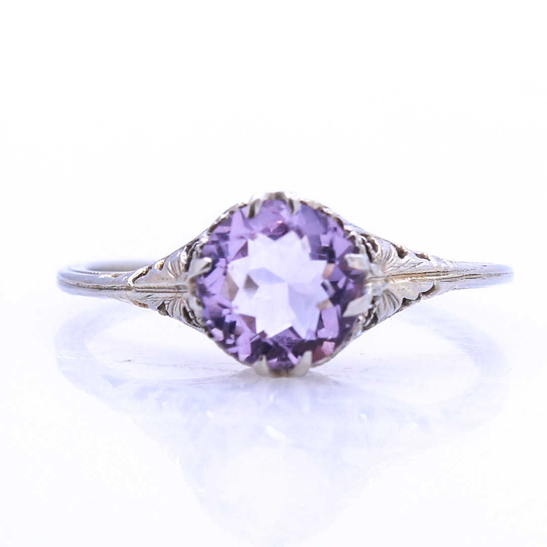 Victorian 10K White Gold Amethyst Ring