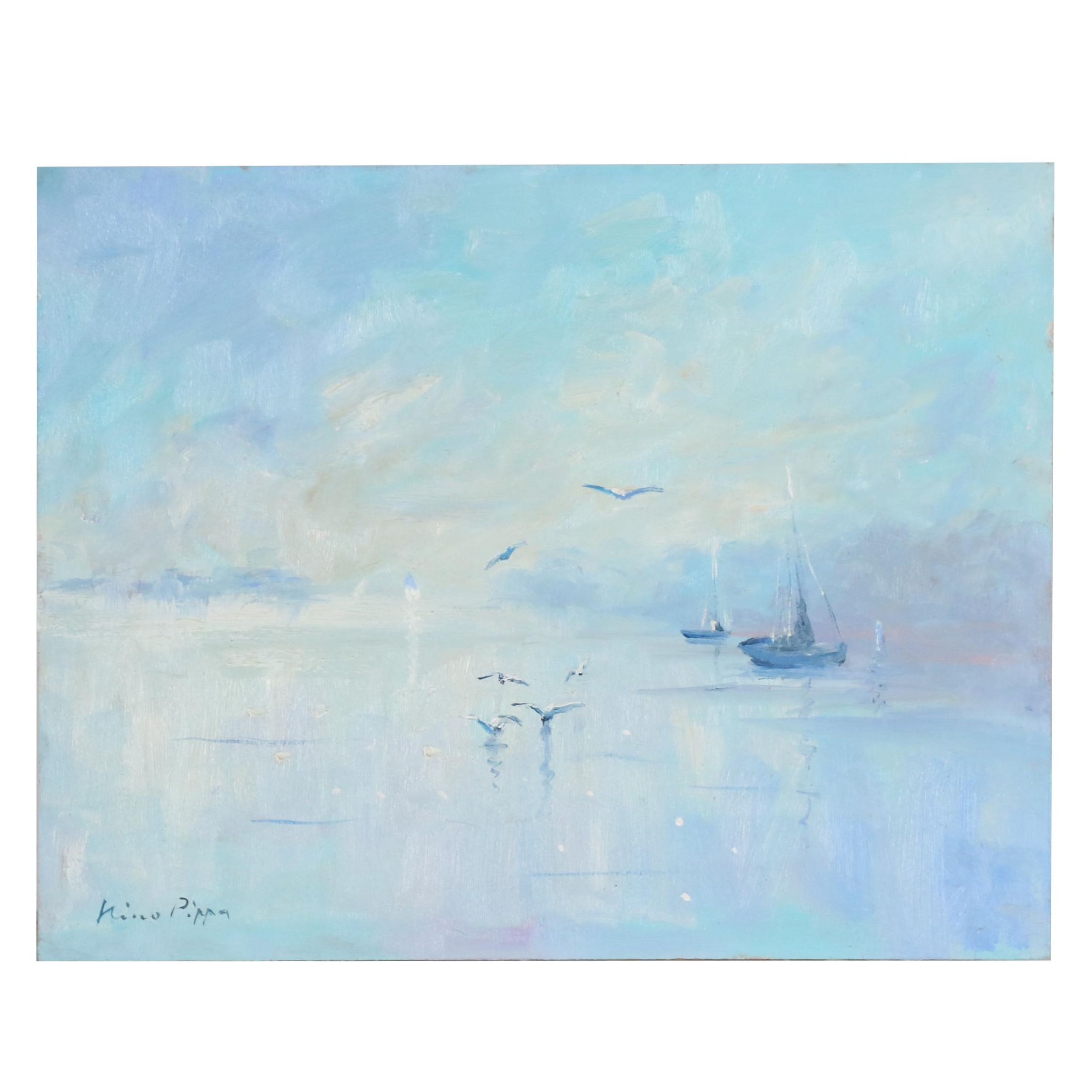 "Nino Pippa Oil Painting ""France - Sailboats and Seagulls on the Oise"""