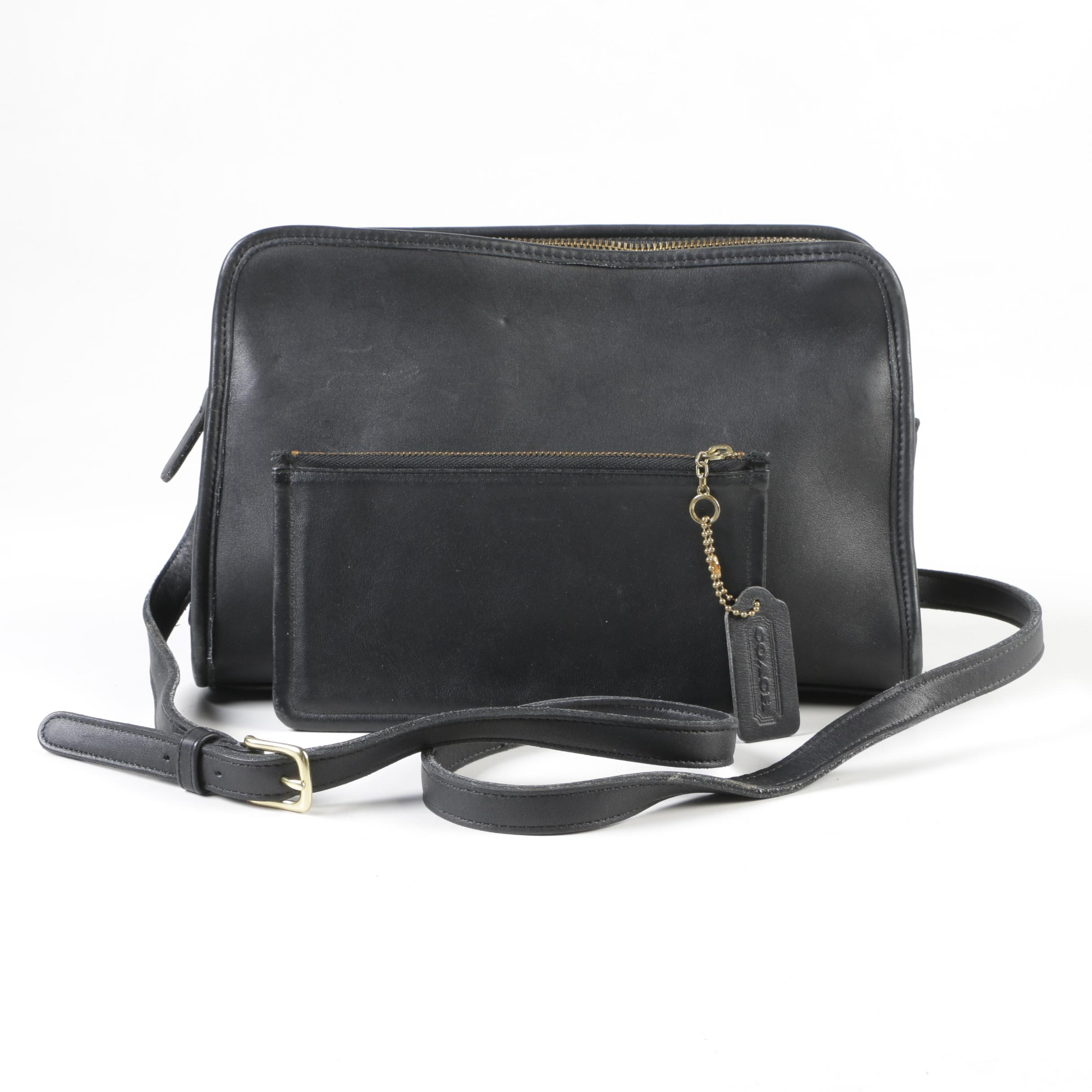 Coach Sutton Black Leather Crossbody Bag and Pouch