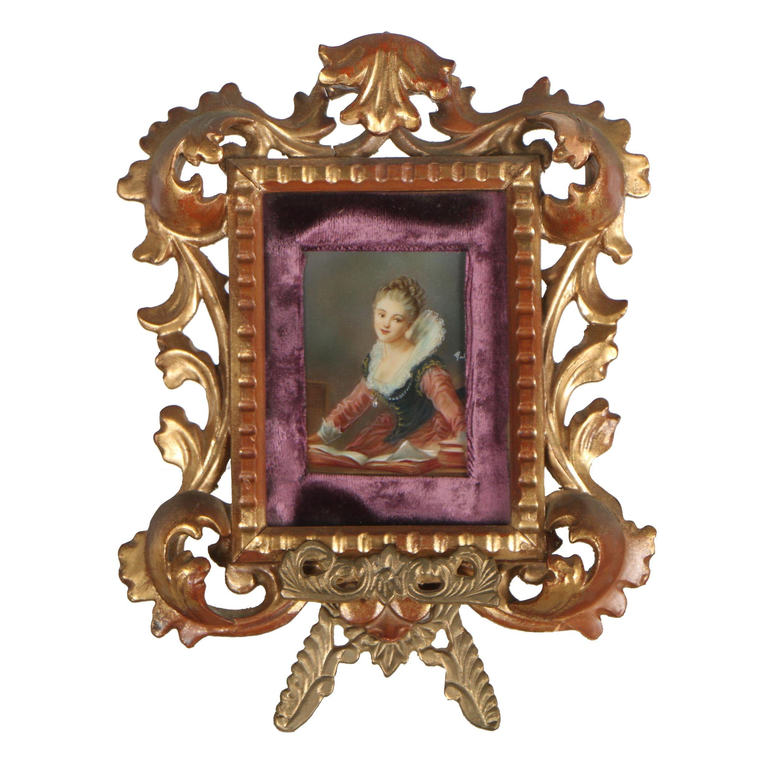Victorian Style Gouache Portrait Painting