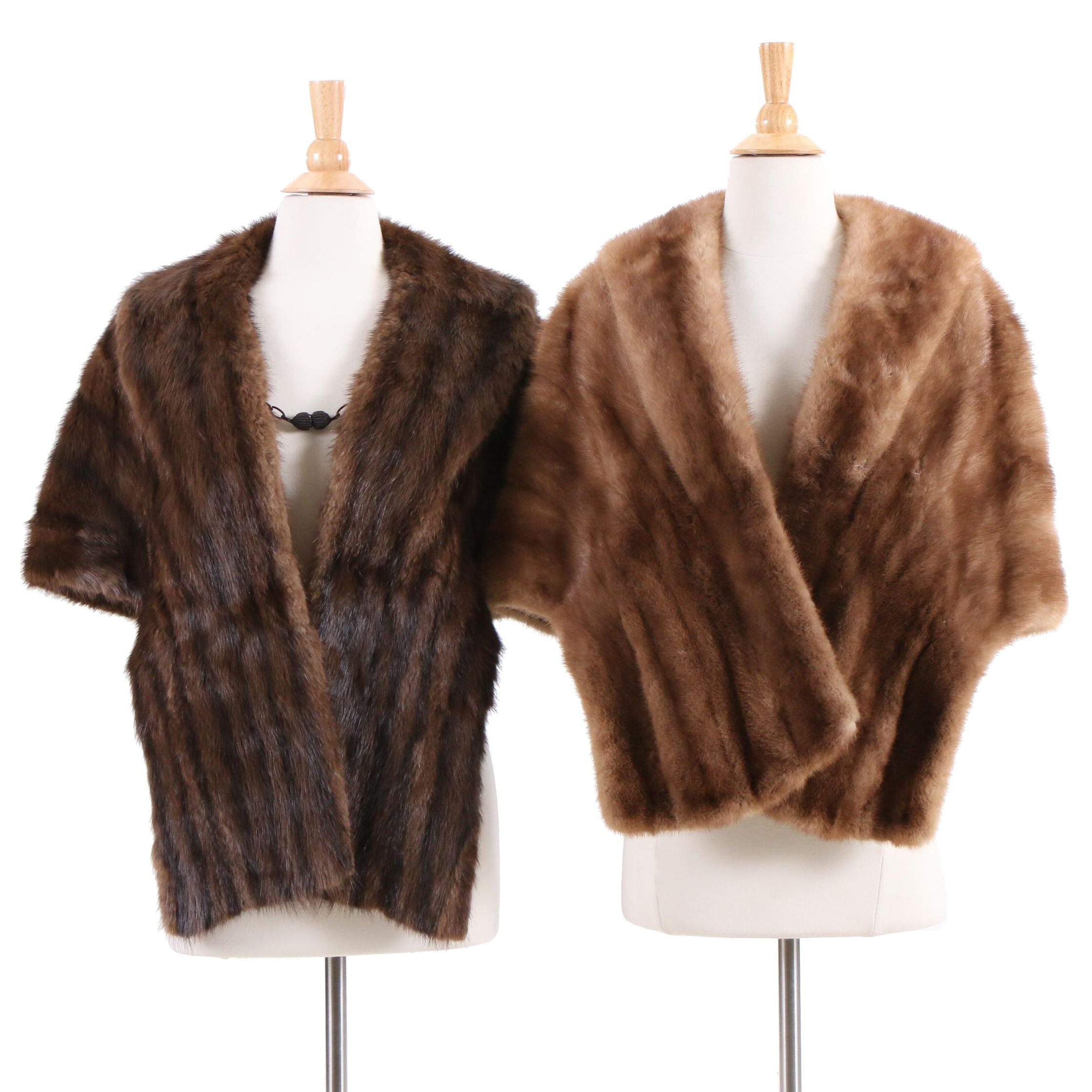 Nat Hyman Autumn Haze Mink Fur Stole and Dyed Muskrat Fur Stole