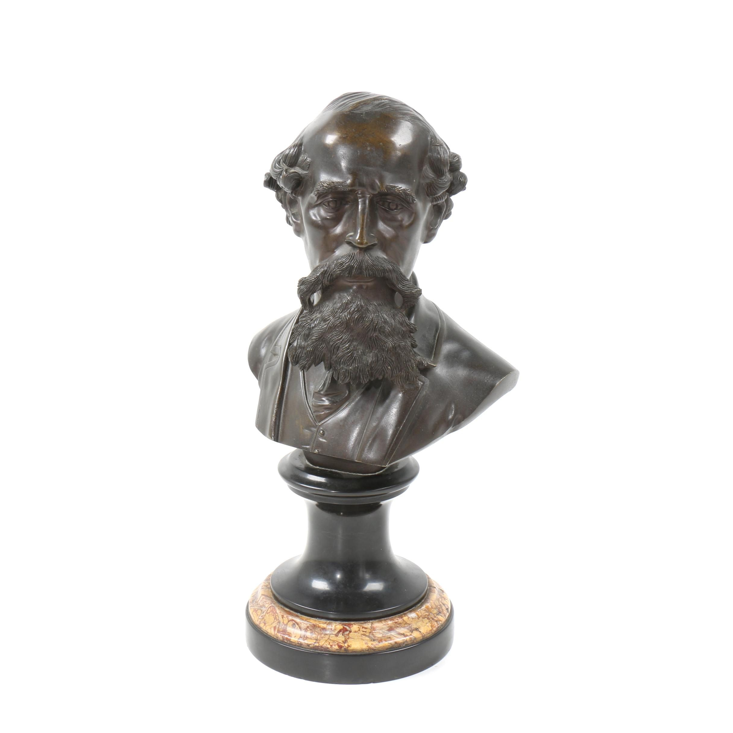 Brass Bust of Charles Dickens