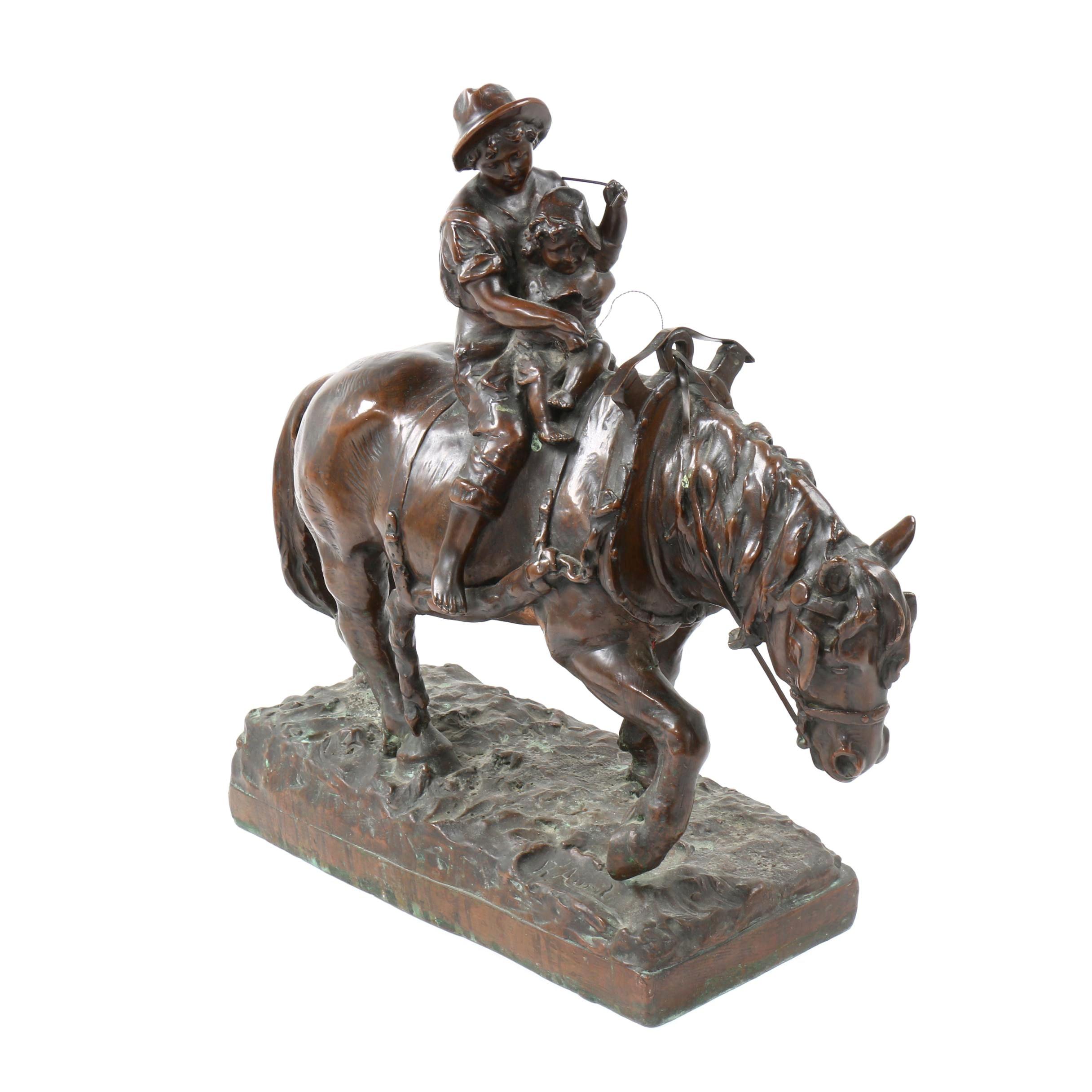 """Copper Clad Sculpture after Richard Aurili """"Retour des Champs"""""""