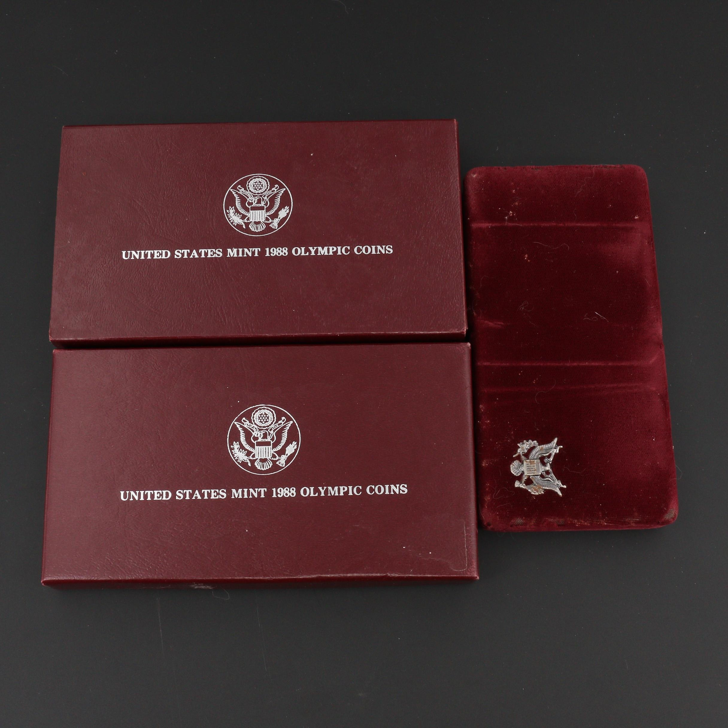 Group of Four U.S. Olympic Silver Proof Dollars