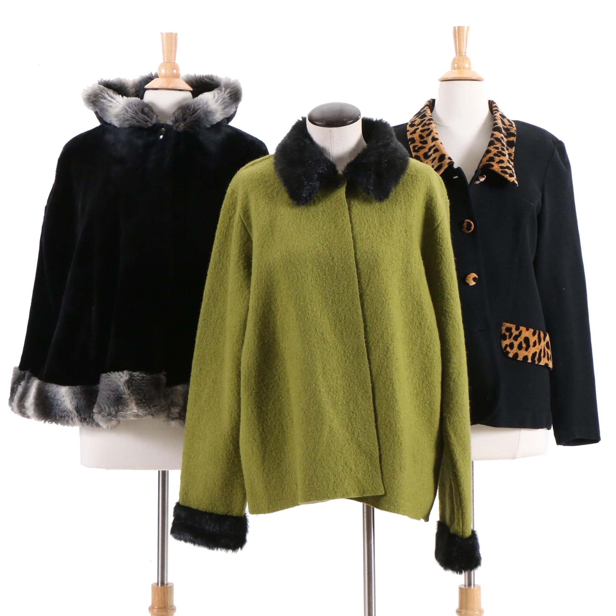 Carole Little Faux Fur Trimmed Jacket and Other Outerwear
