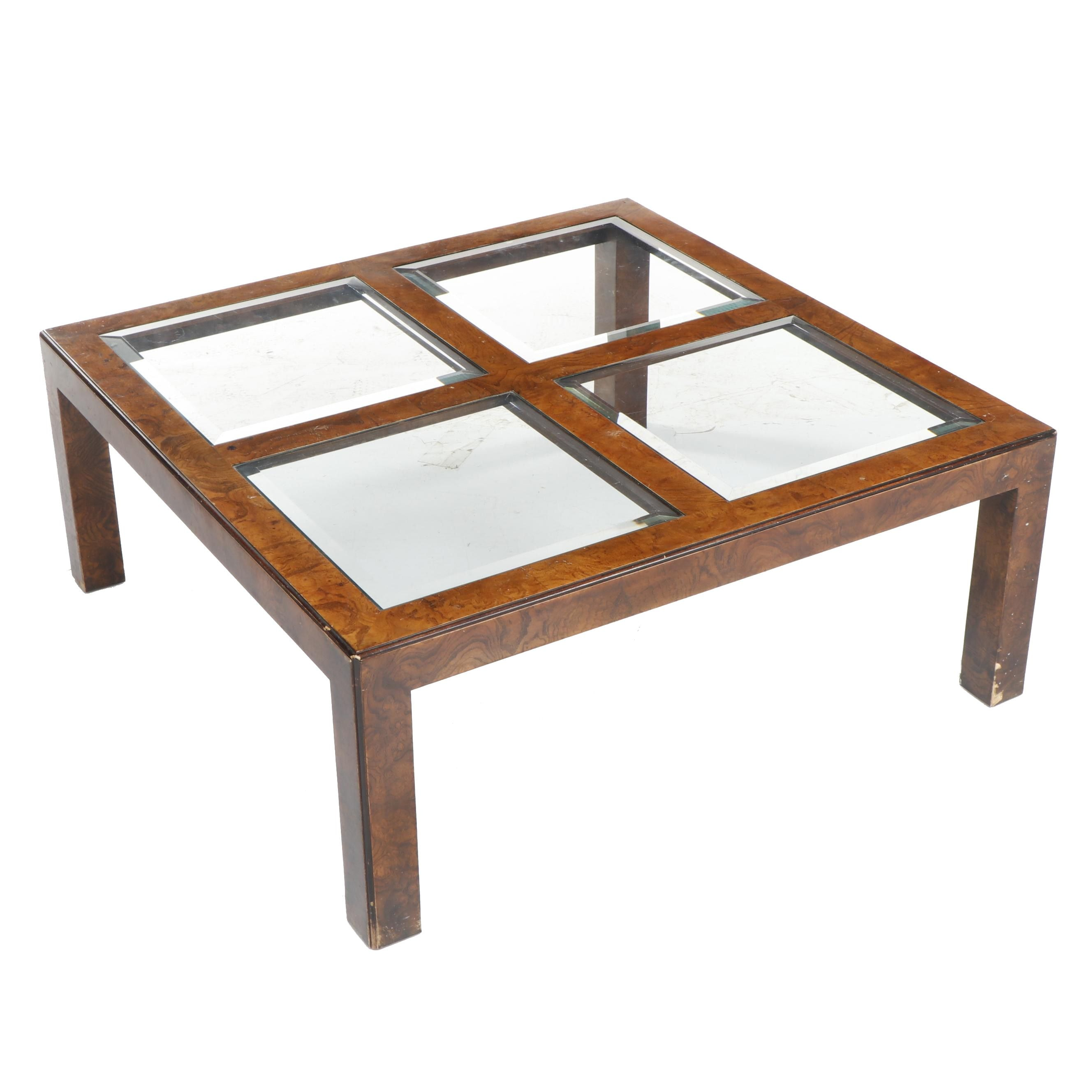 John Widdicomb Burled Oak Glass Top Coffee Table, Mid 20th Century