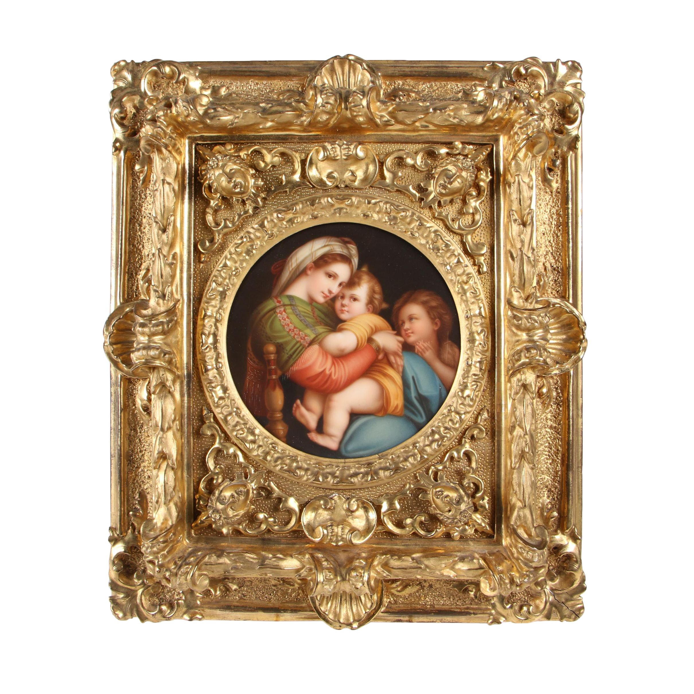 "Late 19th Century Oil Painting after Raphael ""Madonna della Sedia"""