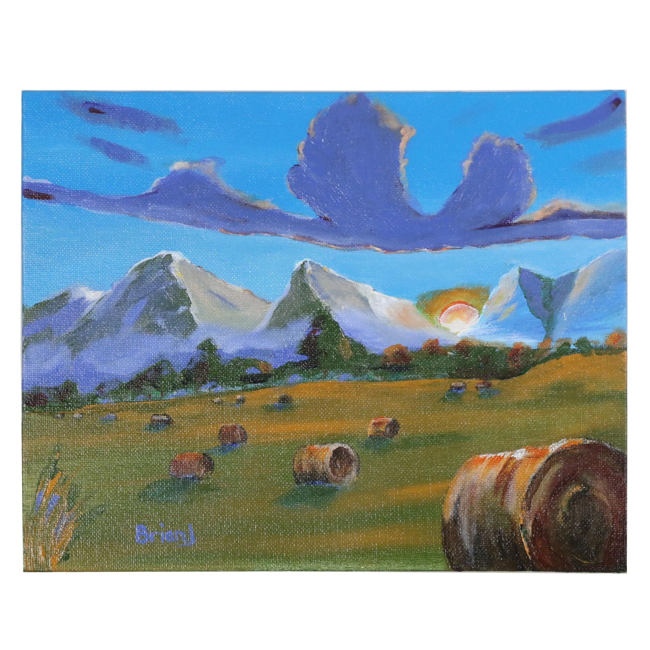 "Brian Johnpeer Acrylic Painting ""Sunset Hay"""