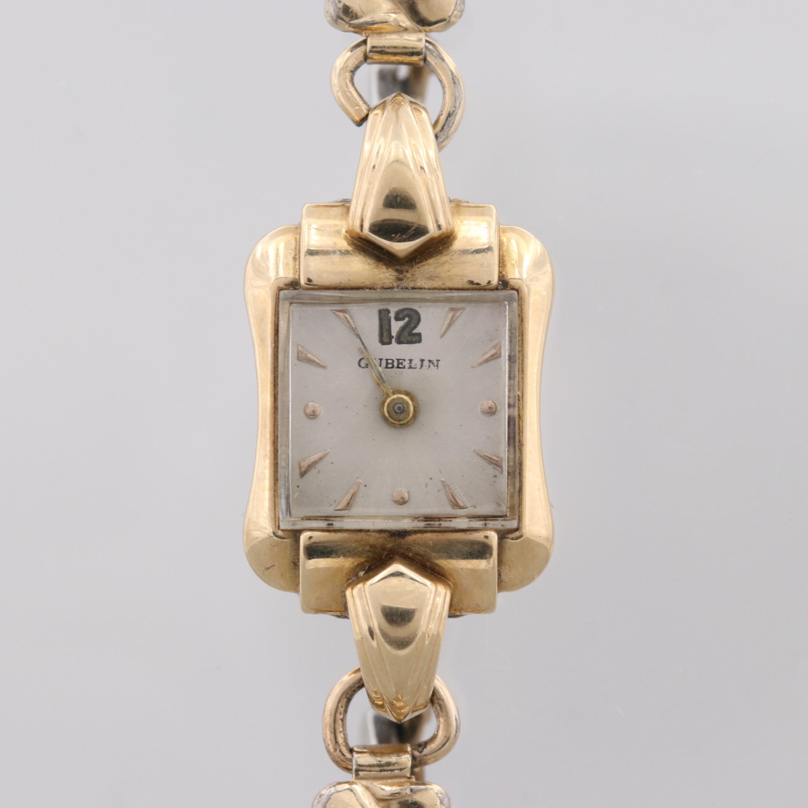 Vintage Gubelin 14K Yellow Gold Stem Wind Wristwatch