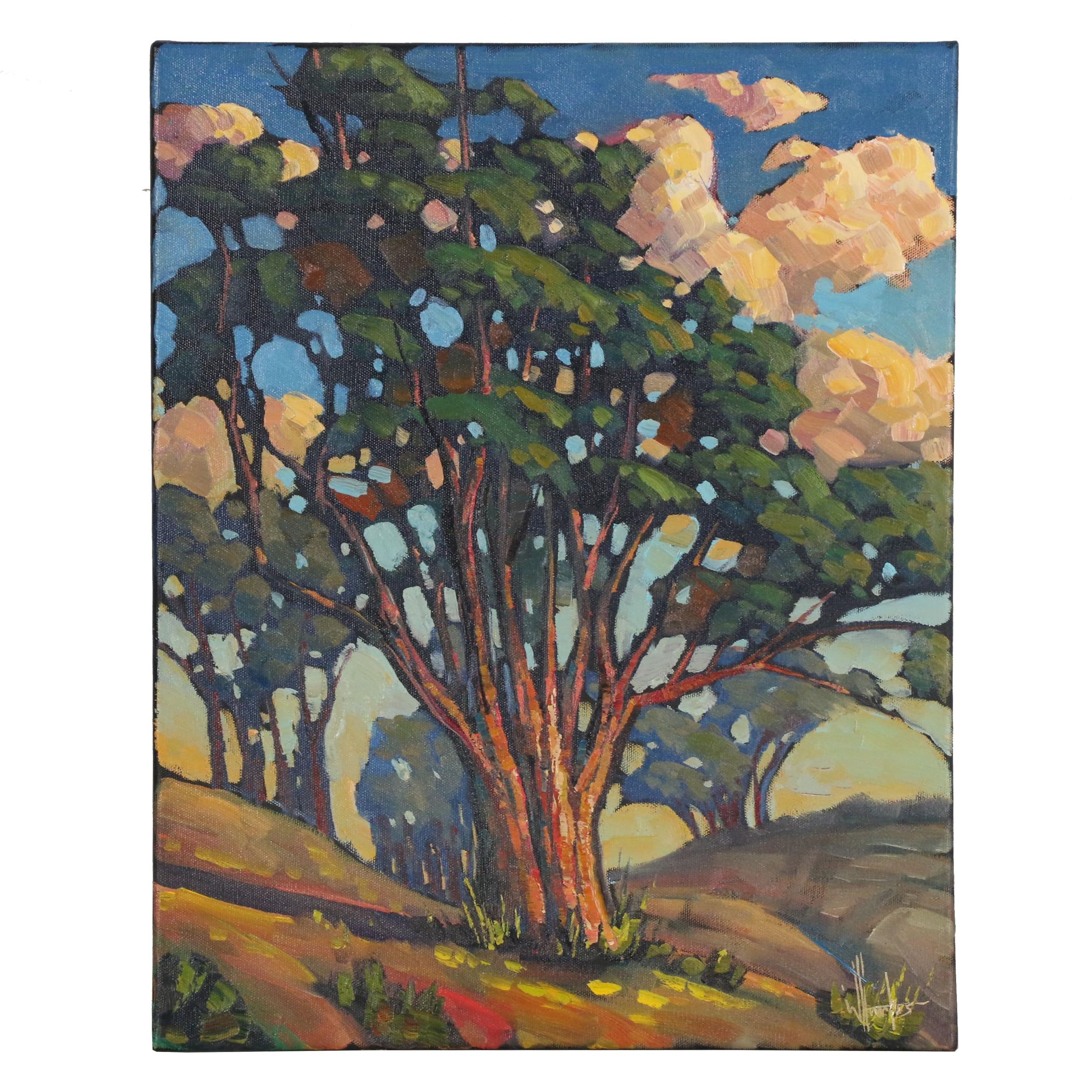 "William Hawkins Oil Painting ""Clever Clumps O' Trees"""