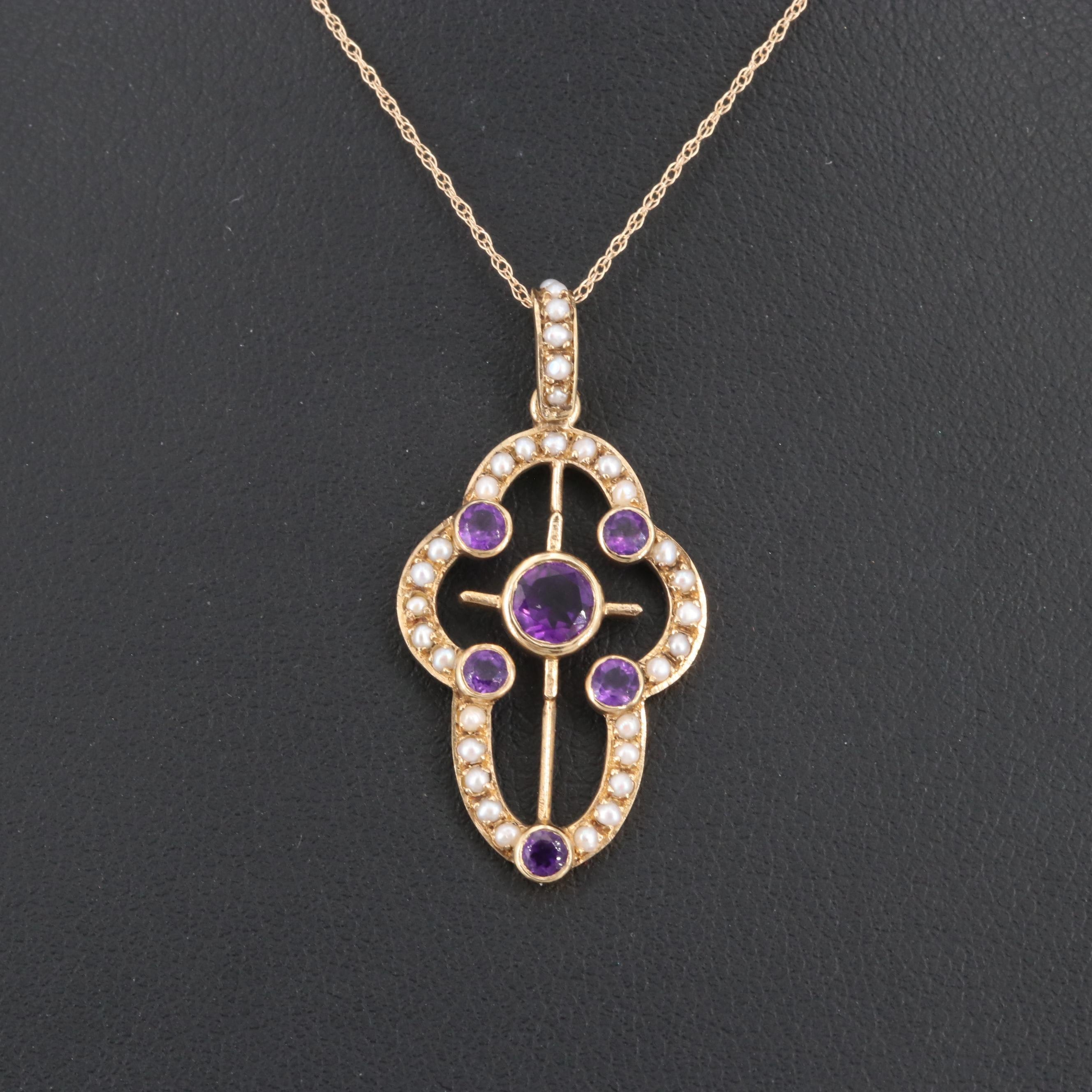Circa 1910 14K Yellow Gold Amethyst and Seed Pearl Pendant