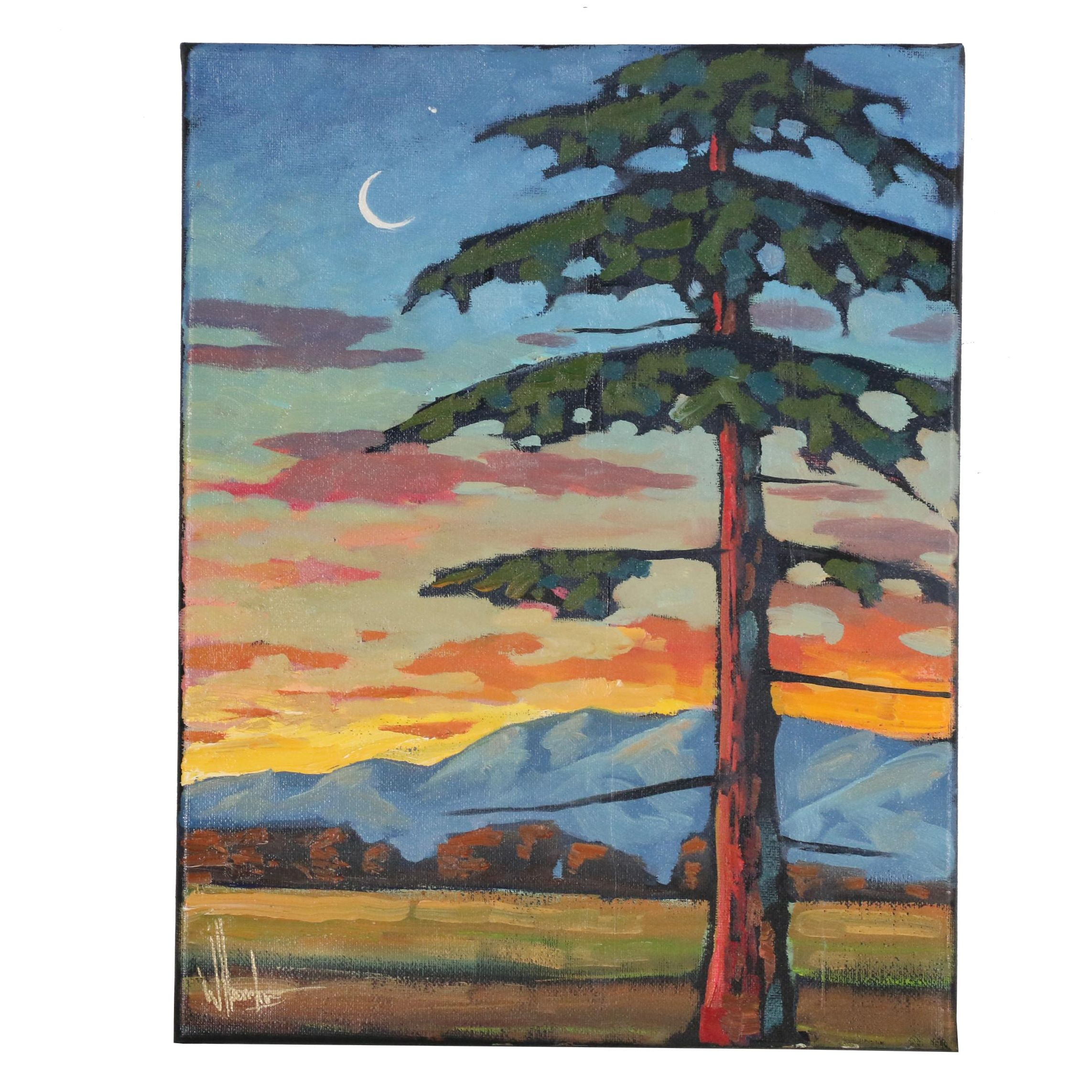 "William Hawkins Oil Painting ""Slivers and Pines"""