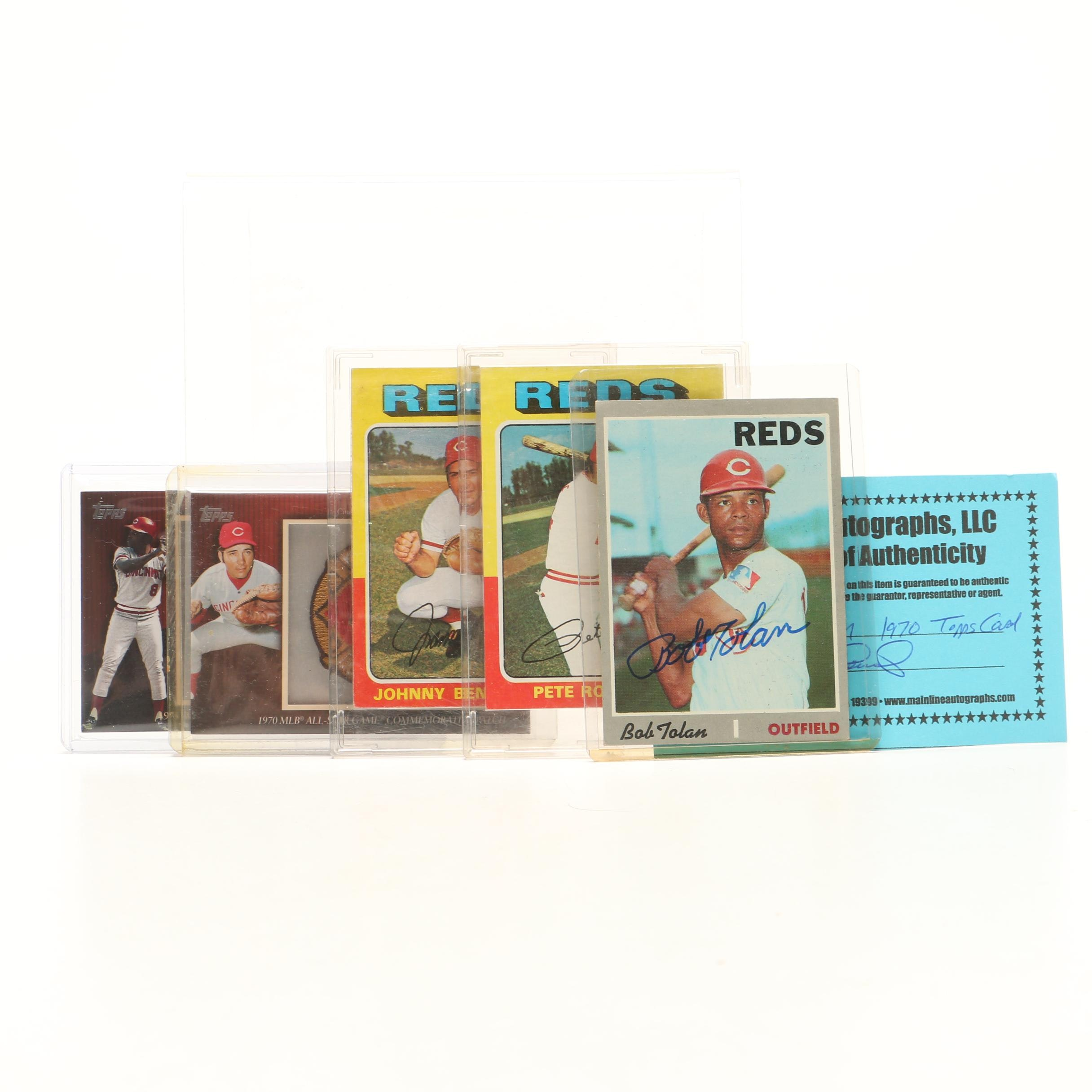 Cincinnati Reds Cards Including 1975 Topps, Relics, and Bobby Tolan Autographed