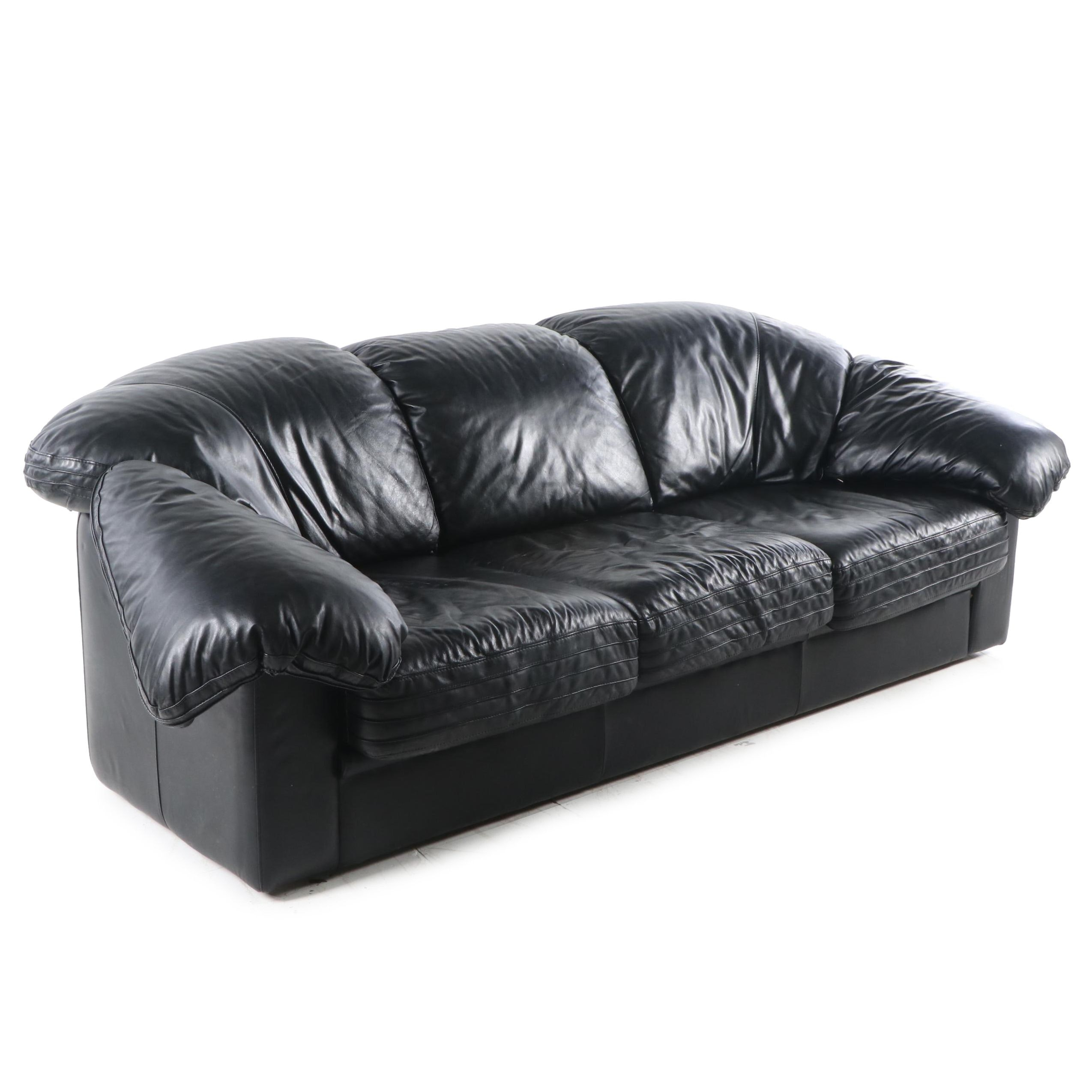 Black Leather Sofa by Natuzzi, 20th Century