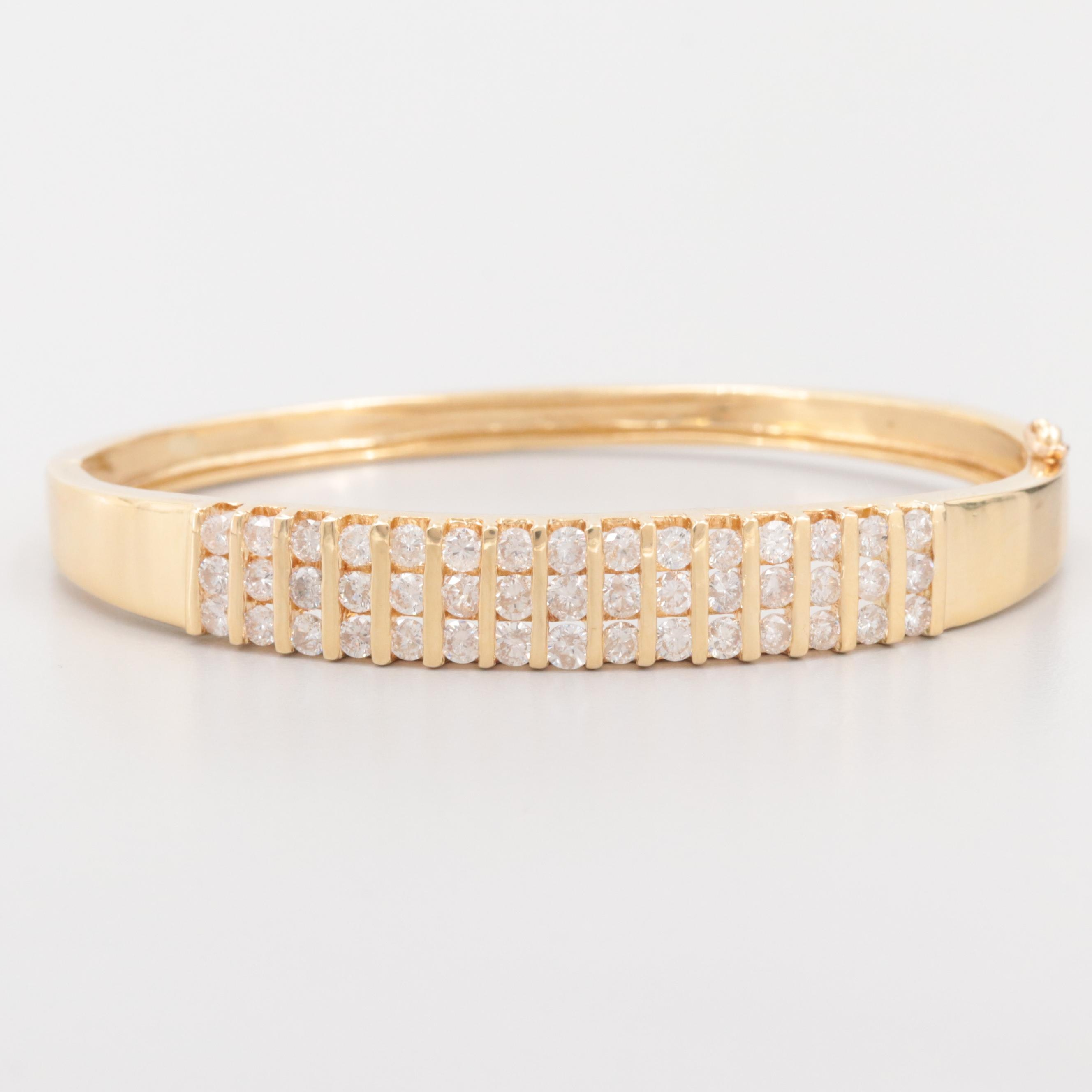 18K Yellow Gold 3.45 CTW Diamond Bangle Bracelet