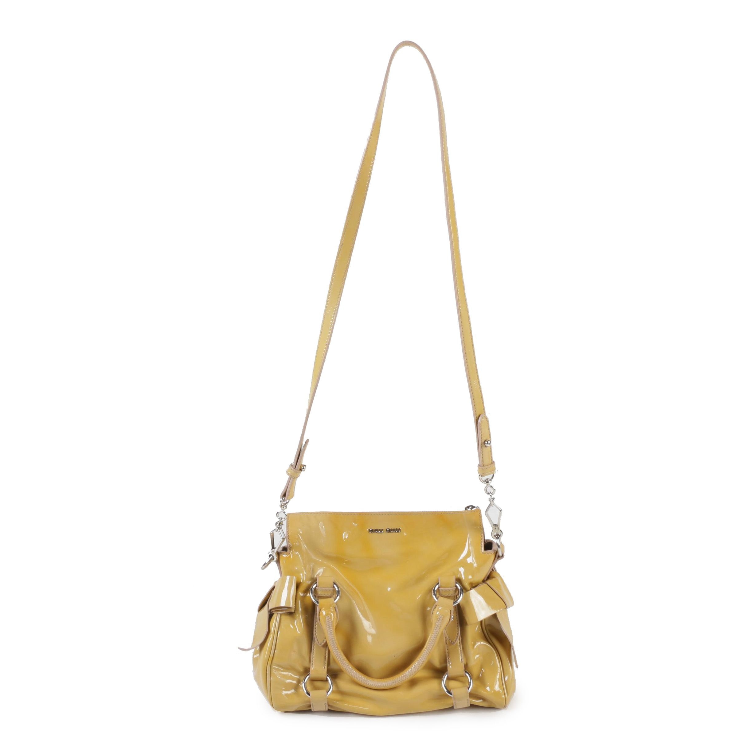 Miu Miu Vitello Lux Patent Leather Bow Handbag with Crossbody Strap