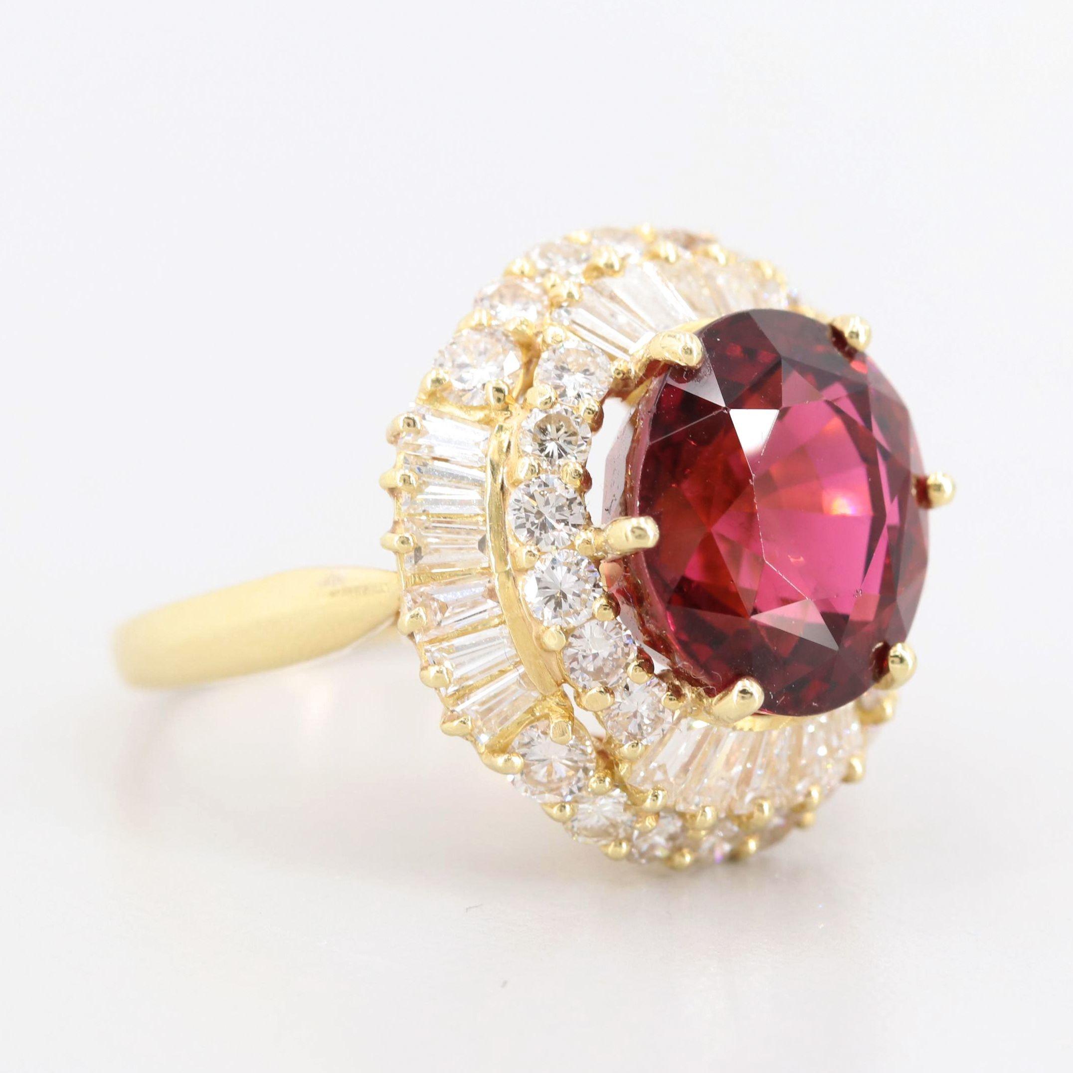 18K Yellow Gold 9.48 CT Pink Tourmaline and 3.95 CTW Diamond Ring